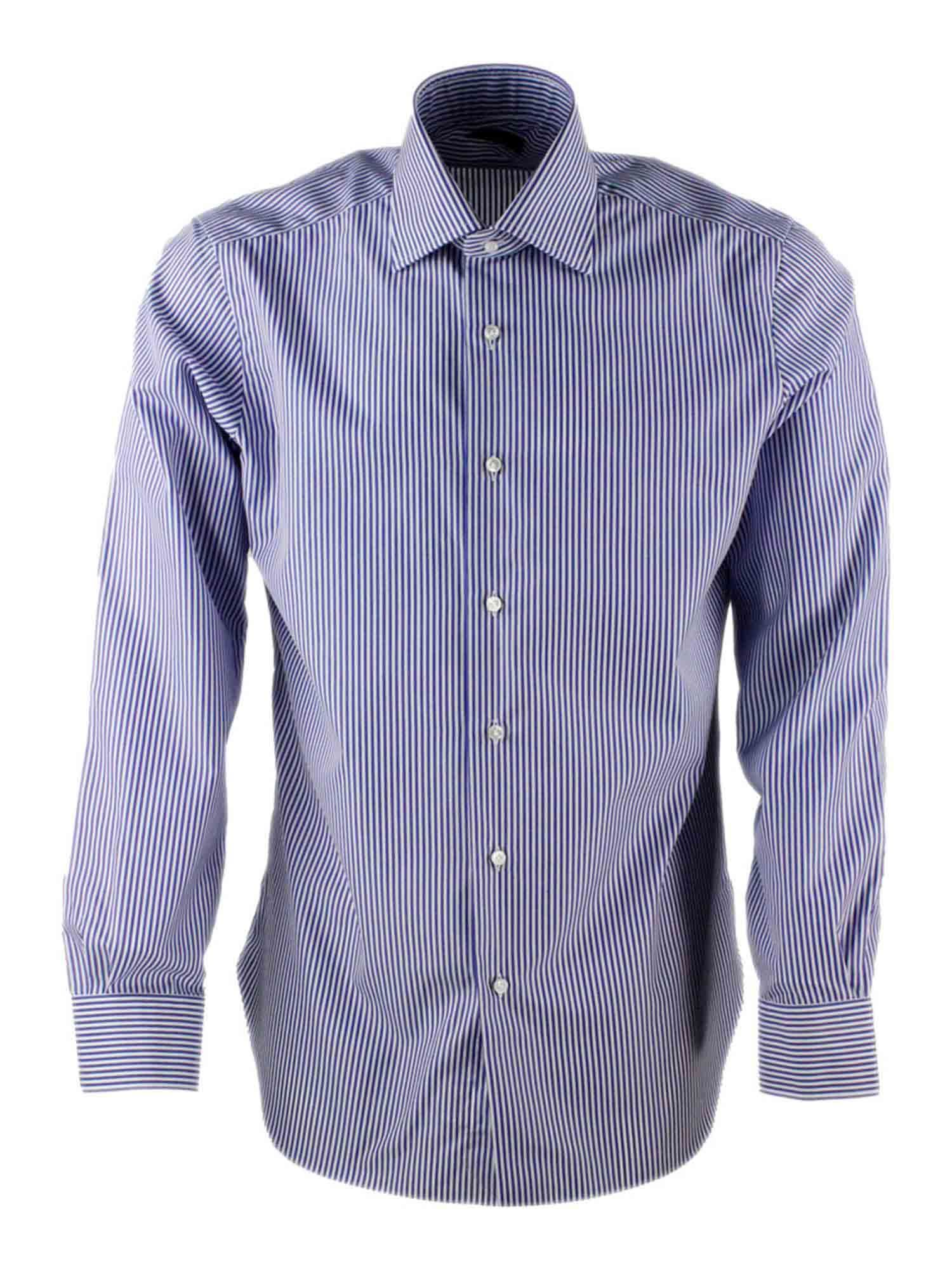 Barba STRIPED SHIRT IN WHITE AND LIGHT BLUE
