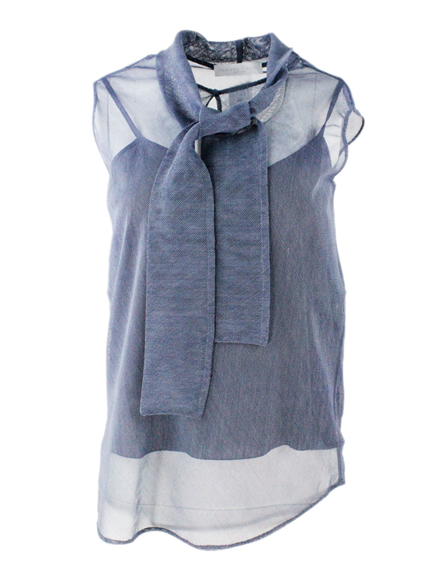 Fabiana Filippi SCARF NECK TOP IN LAGOON COLOR