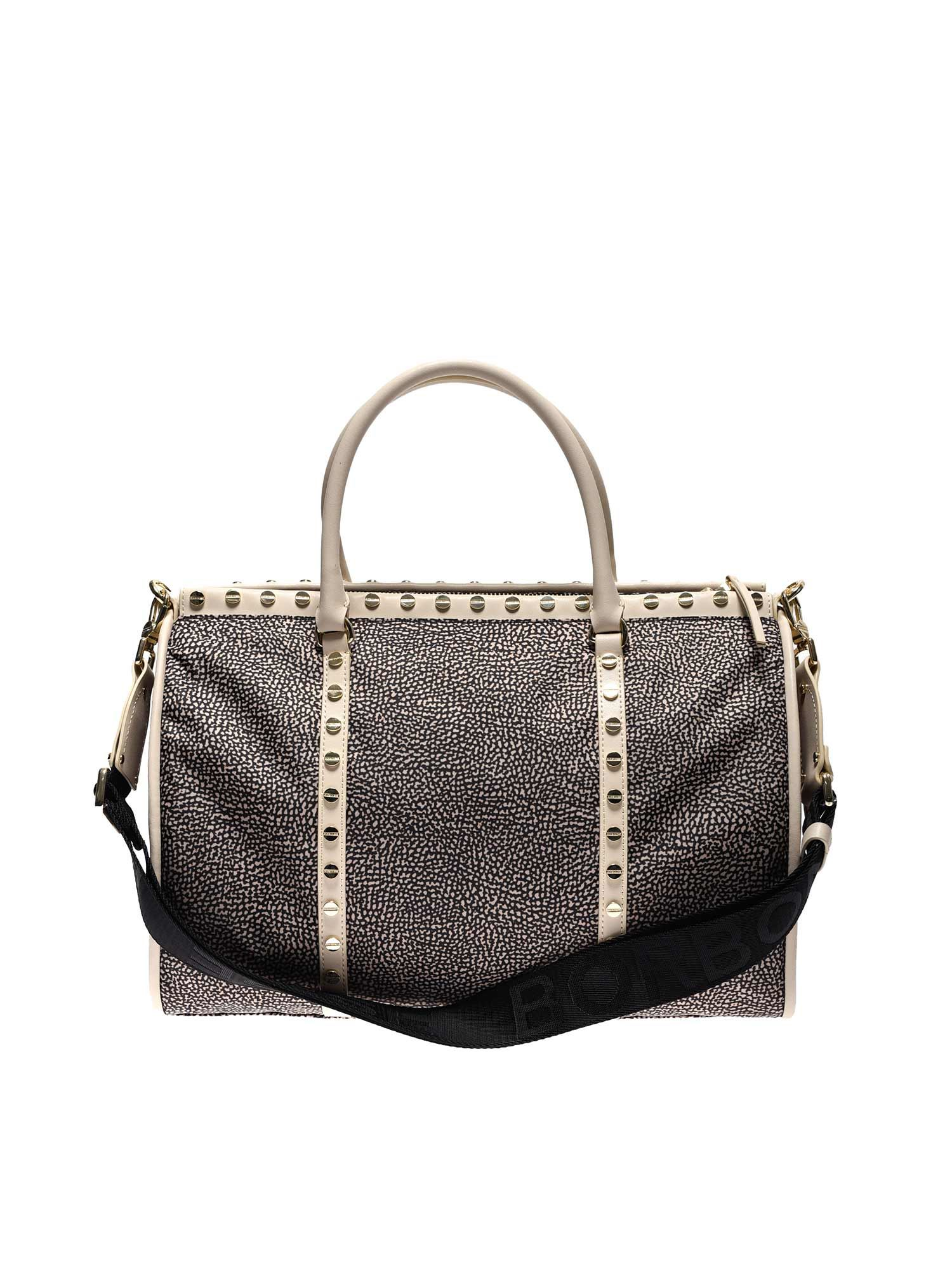 Borbonese MEDIUM METRO SATCHEL BAG IN BEIGE
