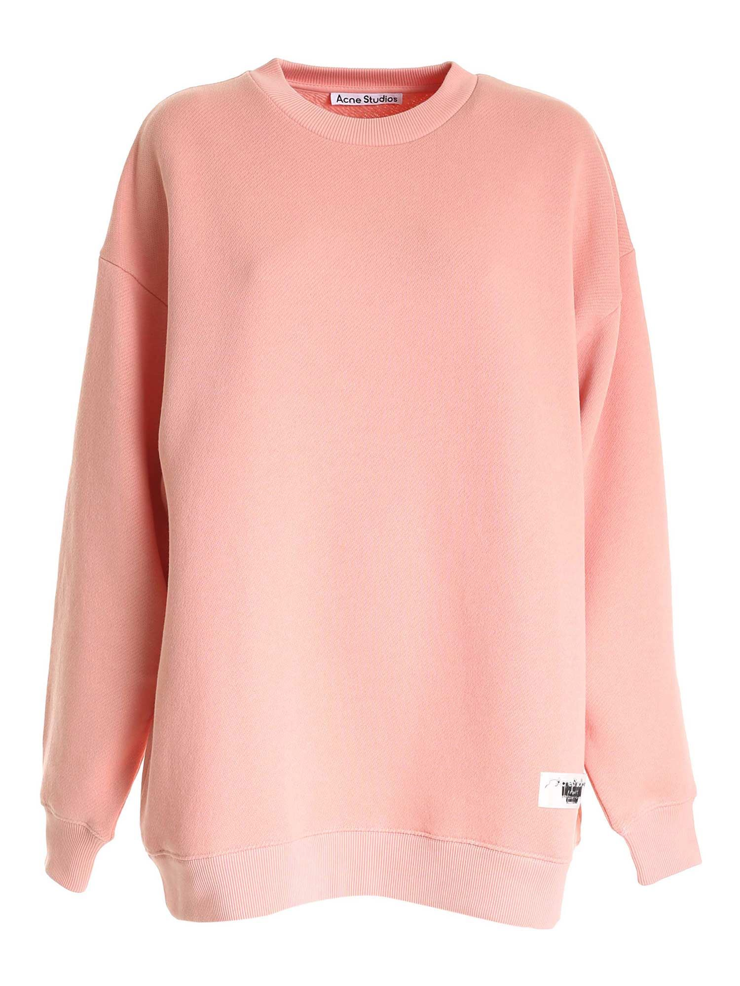Acne Studios LOGO LABEL CREWNECK SWEATSHIRT IN PINK