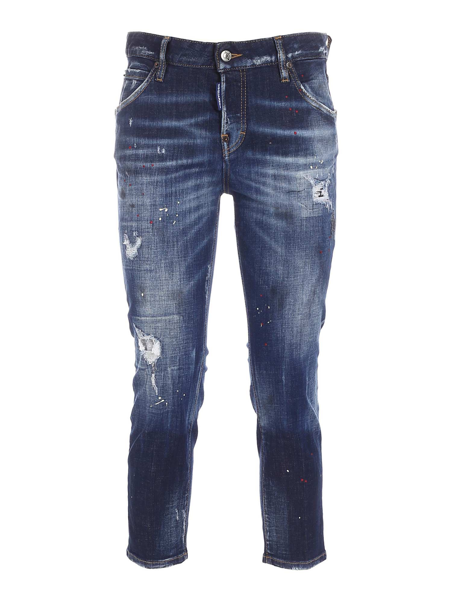 Dsquared2 COOL GIRL CROPPED JEANS IN BLUE