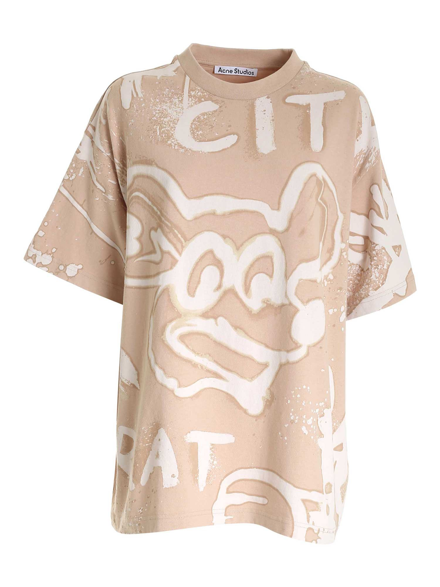 Acne Studios ALL-OVER PRINT T-SHIRT IN BEIGE
