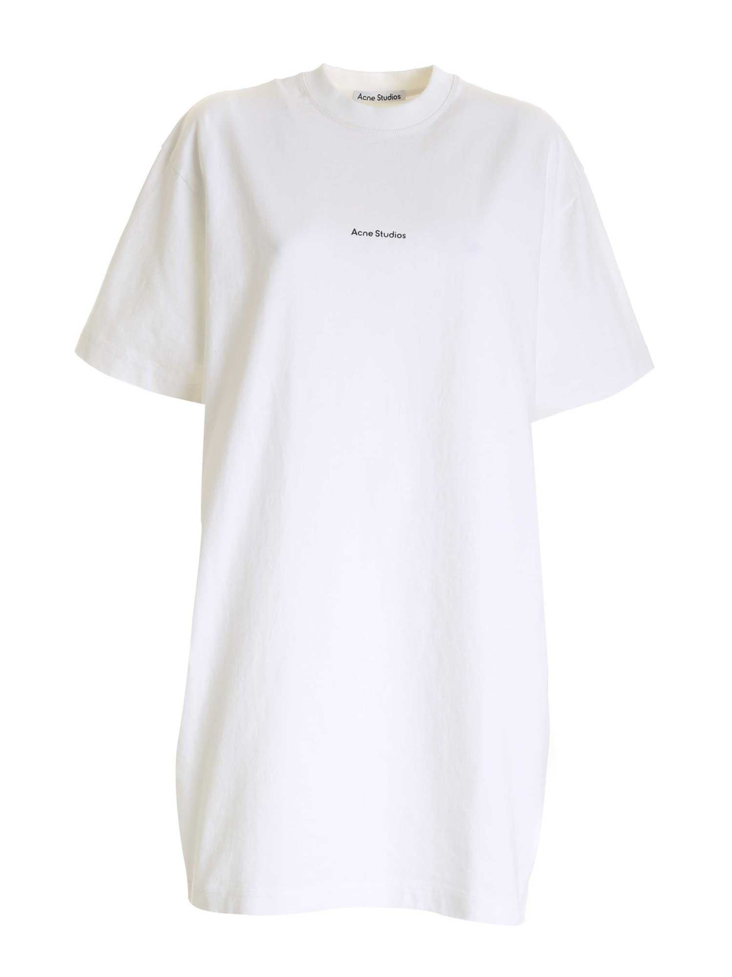 Acne Studios LOGO PRINT MAXI T-SHIRT IN WHITE