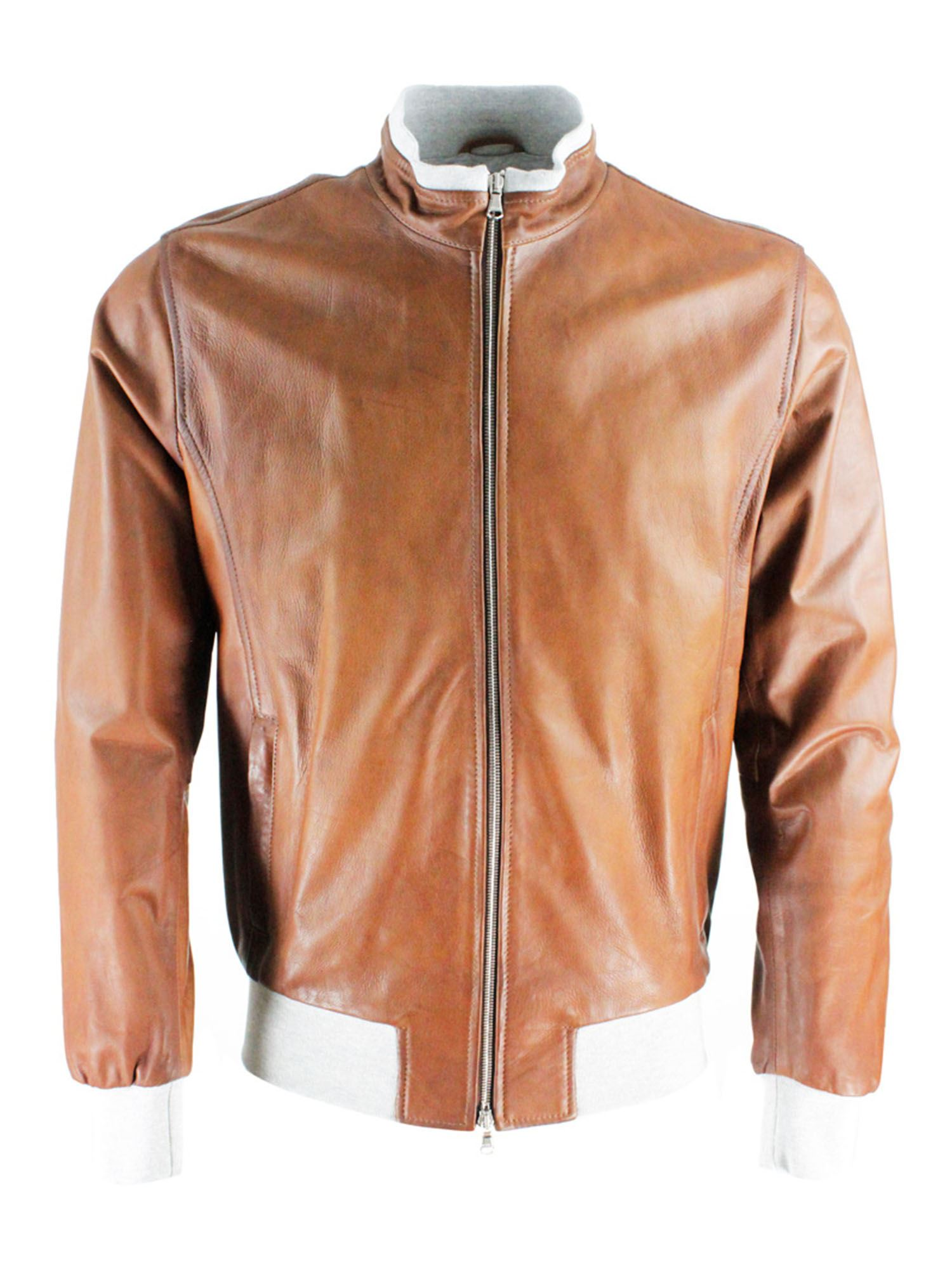 Barba Leathers JACKET IN BROWN AND GREY
