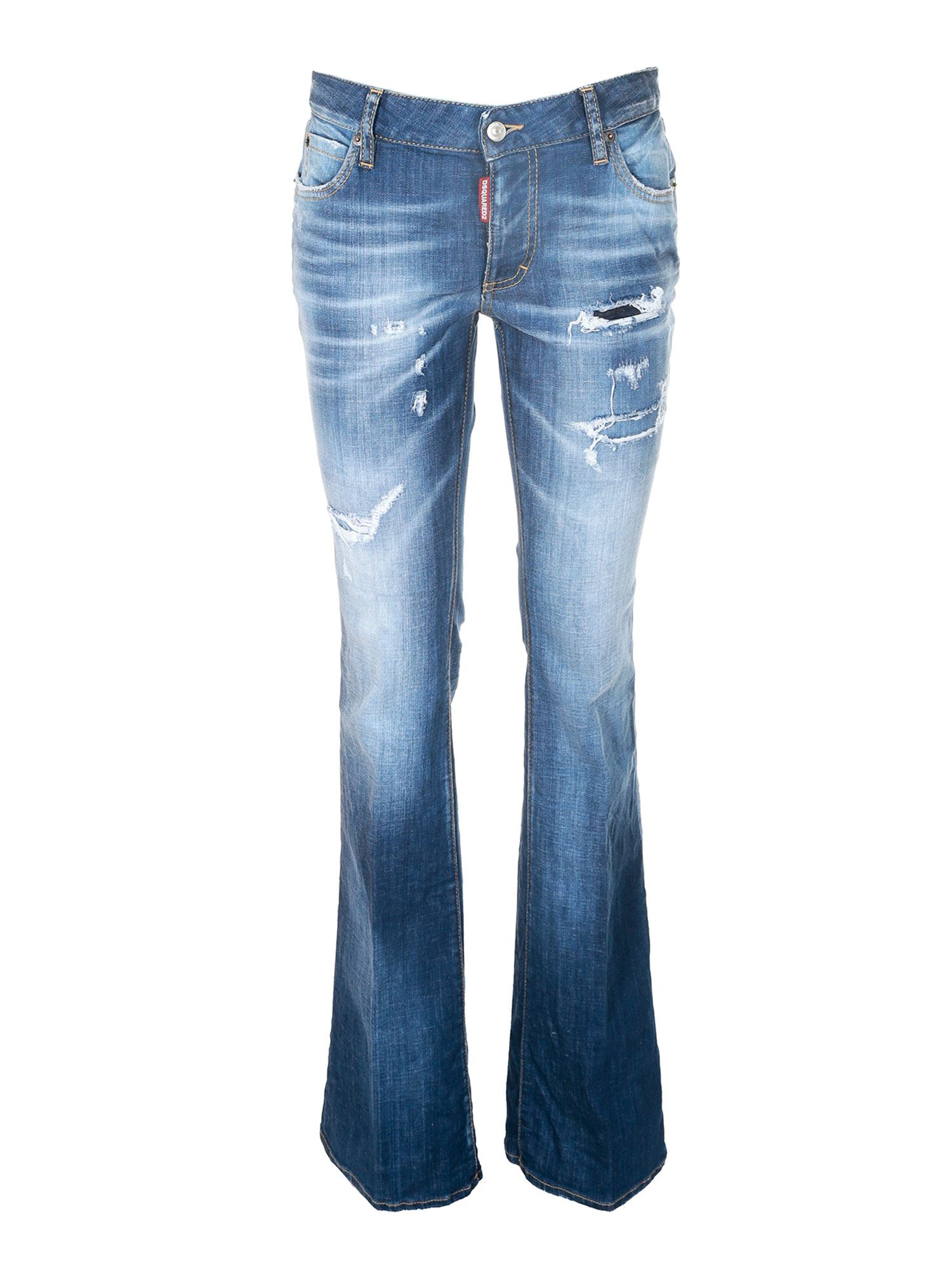 Dsquared2 MEDIUM WAIST FLARE JEANS IN BLUE