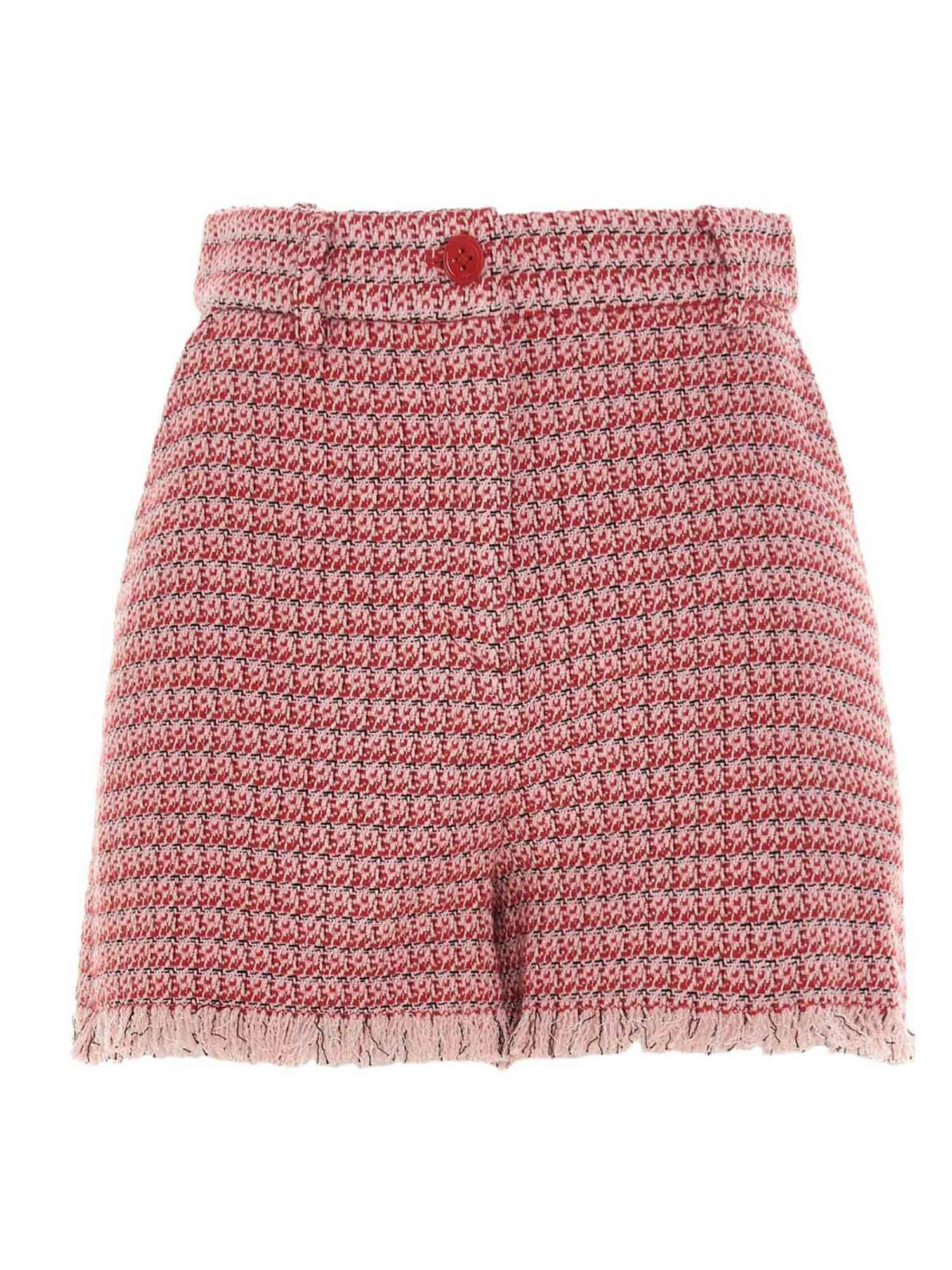 Pinko Cottons PINKO MICRO-PATTERNED SHORTS IN RED