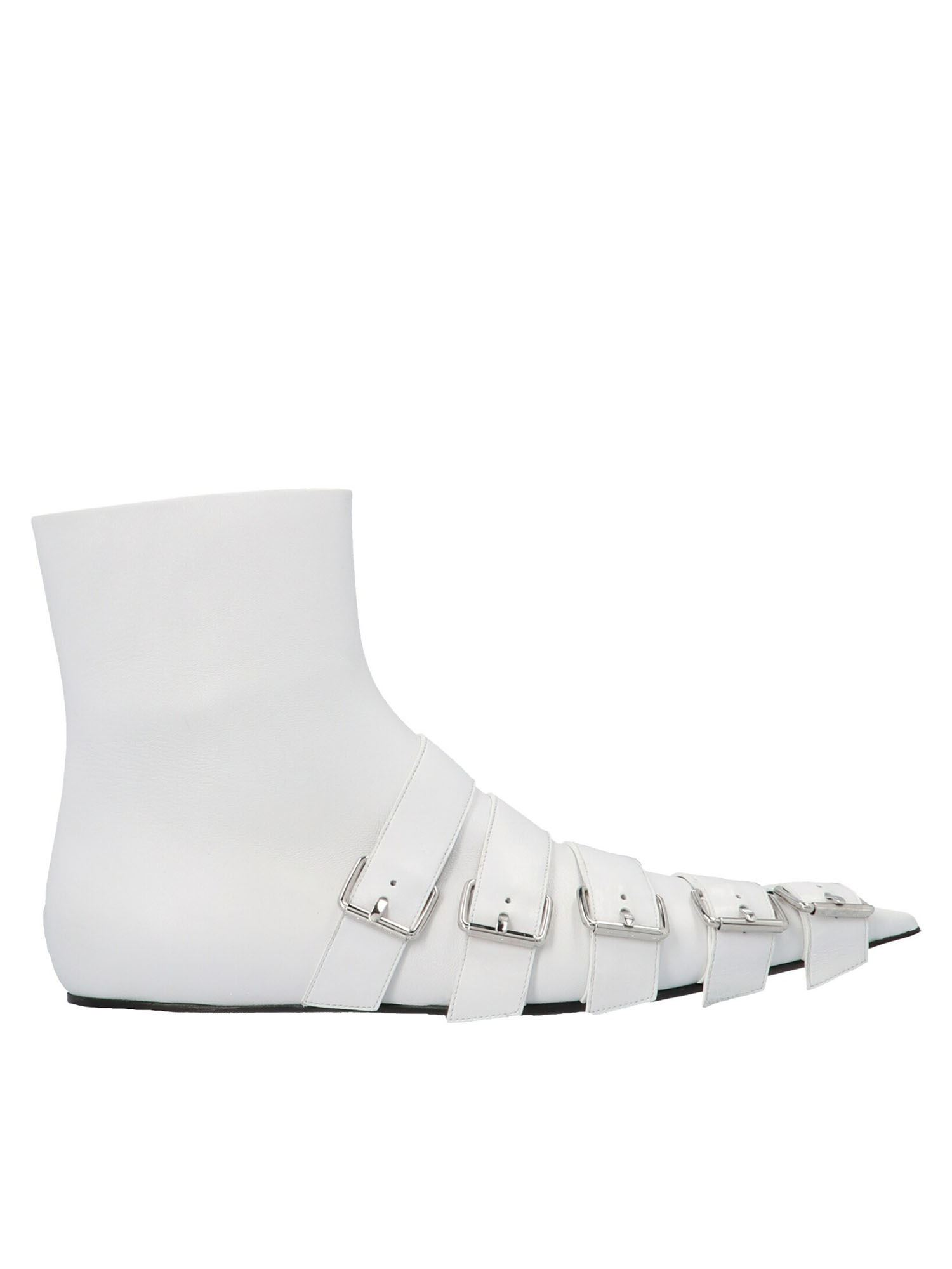 Balenciaga Leathers STARPS ANKLE BOOTS IN WHITE