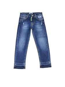 MSGM Kids - Worn effect jeans in blue