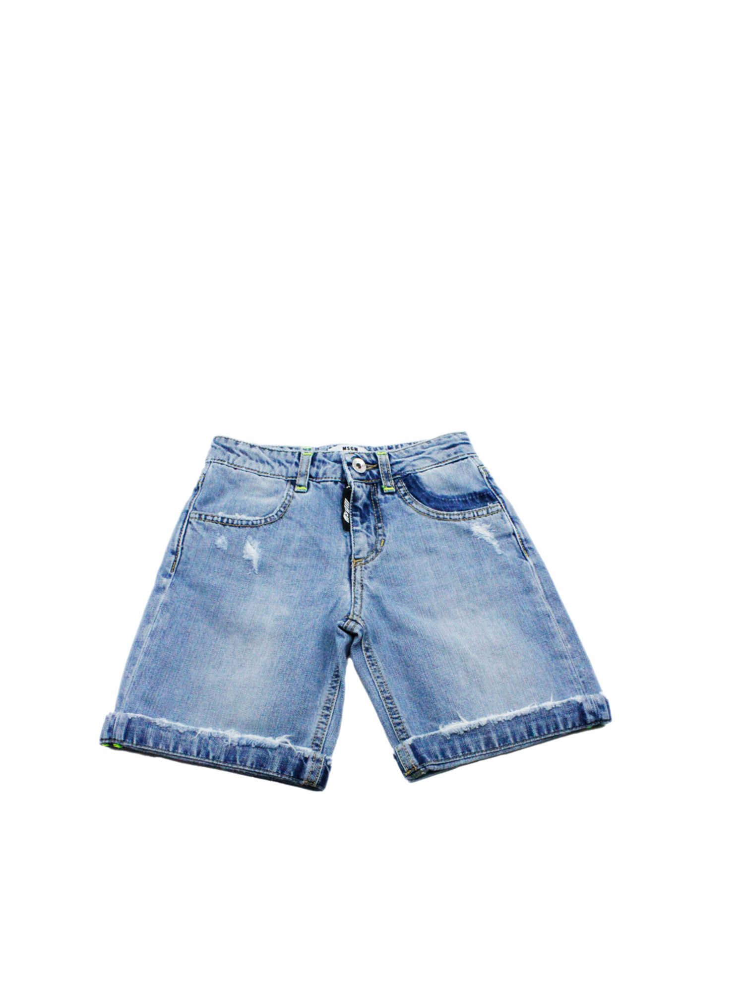 Msgm WORN-EFFECT DENIM SHORTS IN LIGHT BLUE