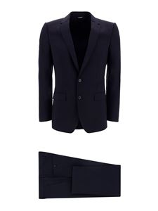 Dolce & Gabbana - Fleece wool two-piece suit in blue