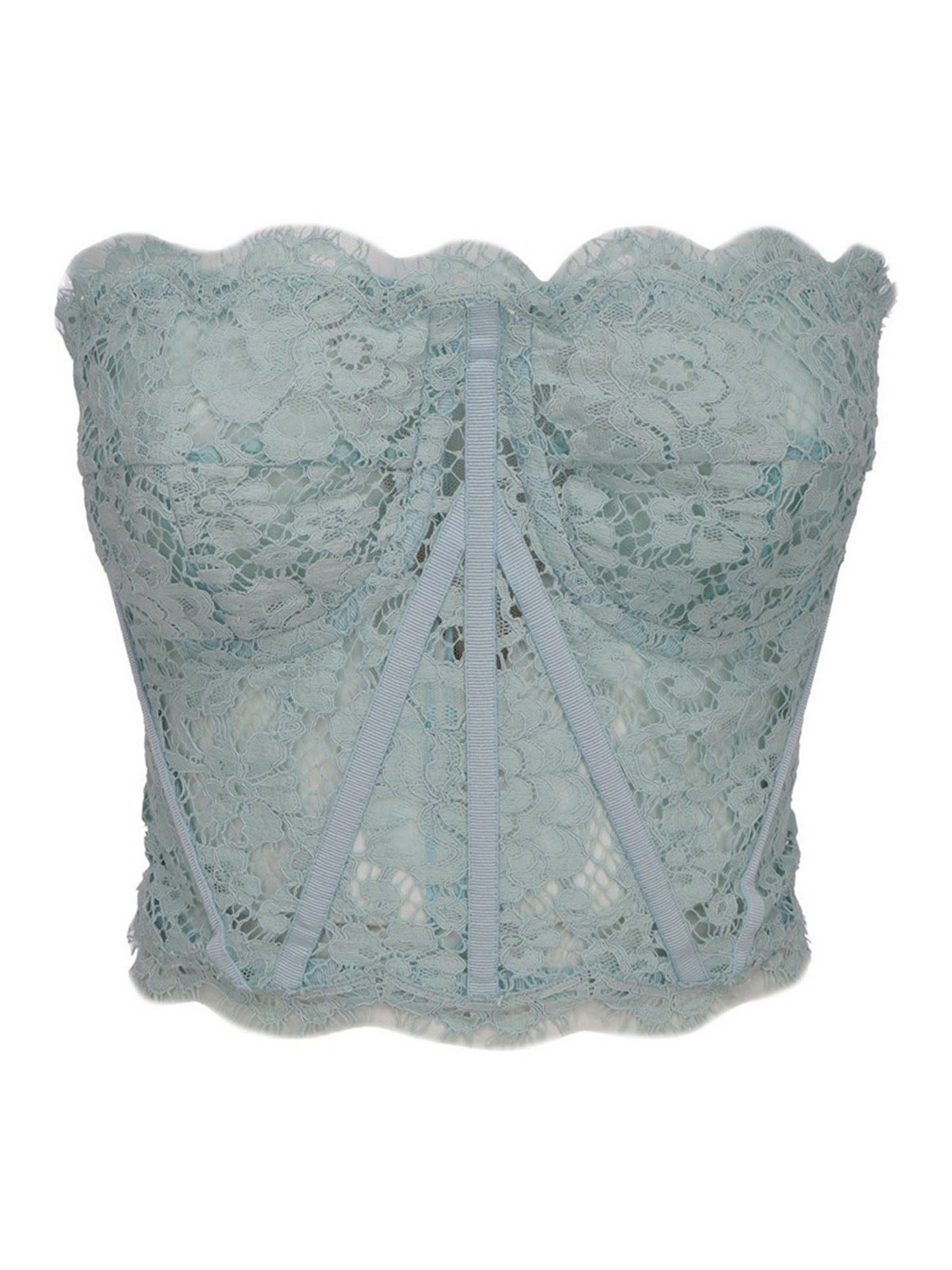 Dolce & Gabbana LACE CORSAGE TOP IN LIGHT BLUE