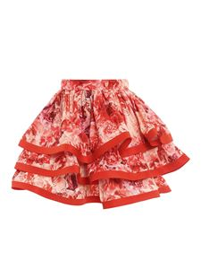 Elisabetta Franchi - Maxi ruffle floral skirt in red