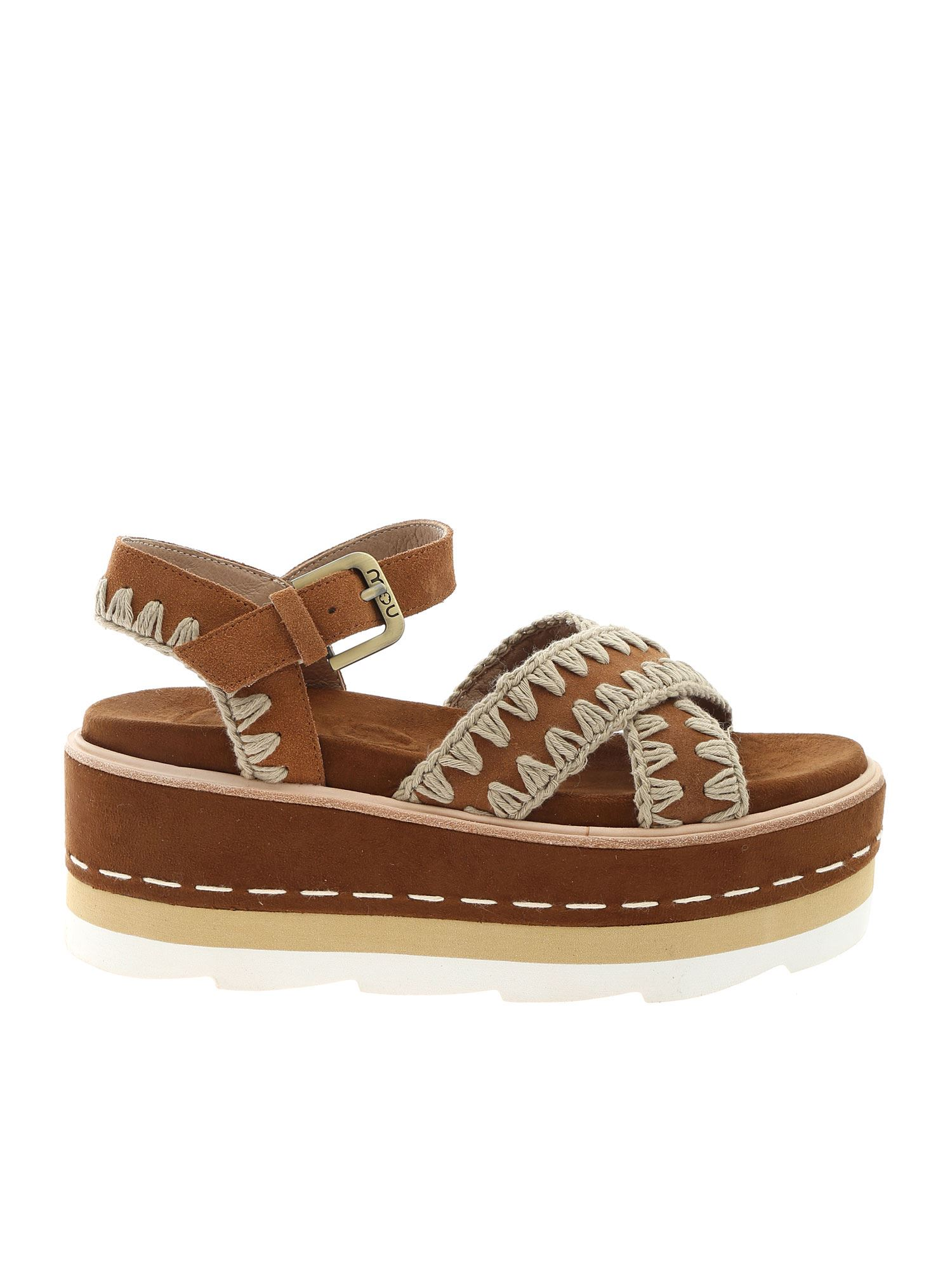 Mou PLATFORM CRISS SANDALS IN BROWN