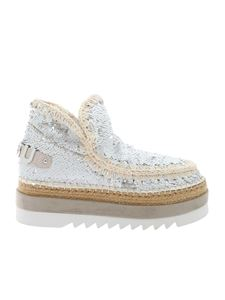 Mou - Jute Eva All Sequins ankle boots in white