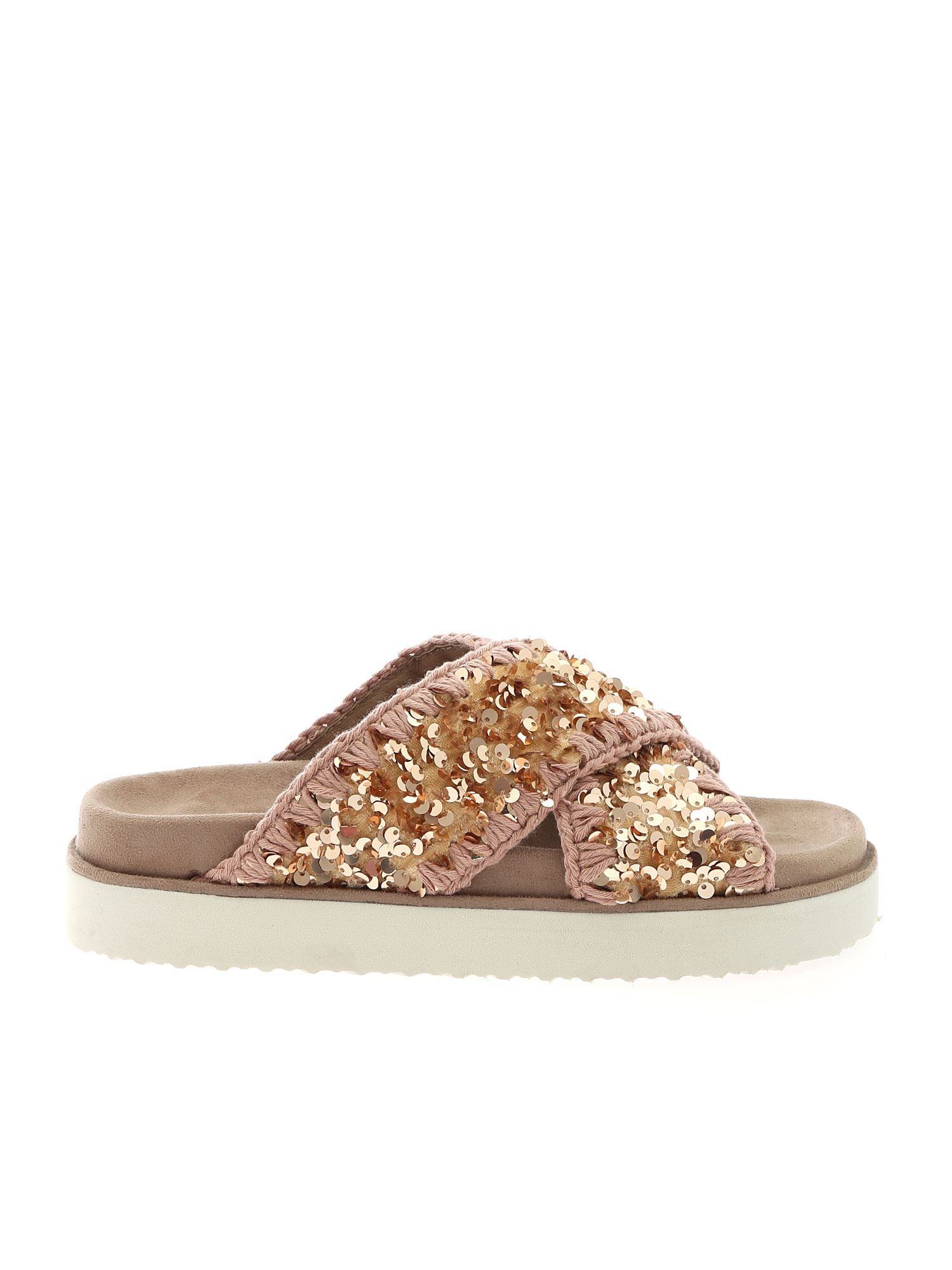 Mou CRISS-CROSS BIO SLIPPERS IN ANTIQUE PINK