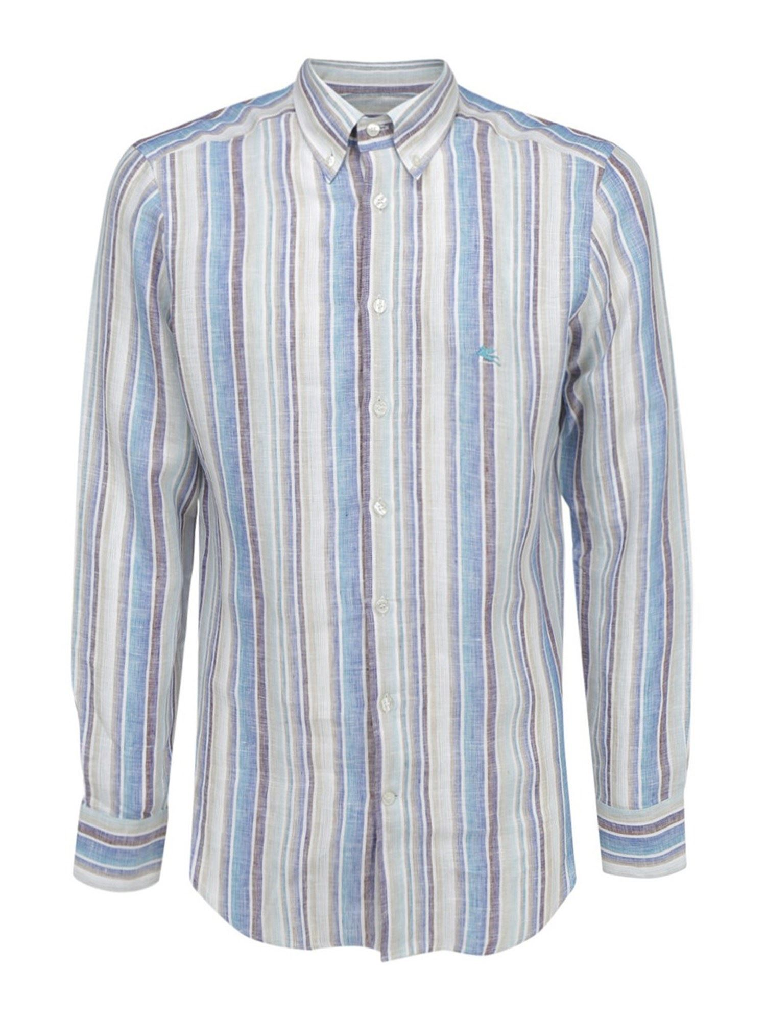 Etro LINEN STRIPED SLIM FIT SHIRT IN LIGHT BLUE