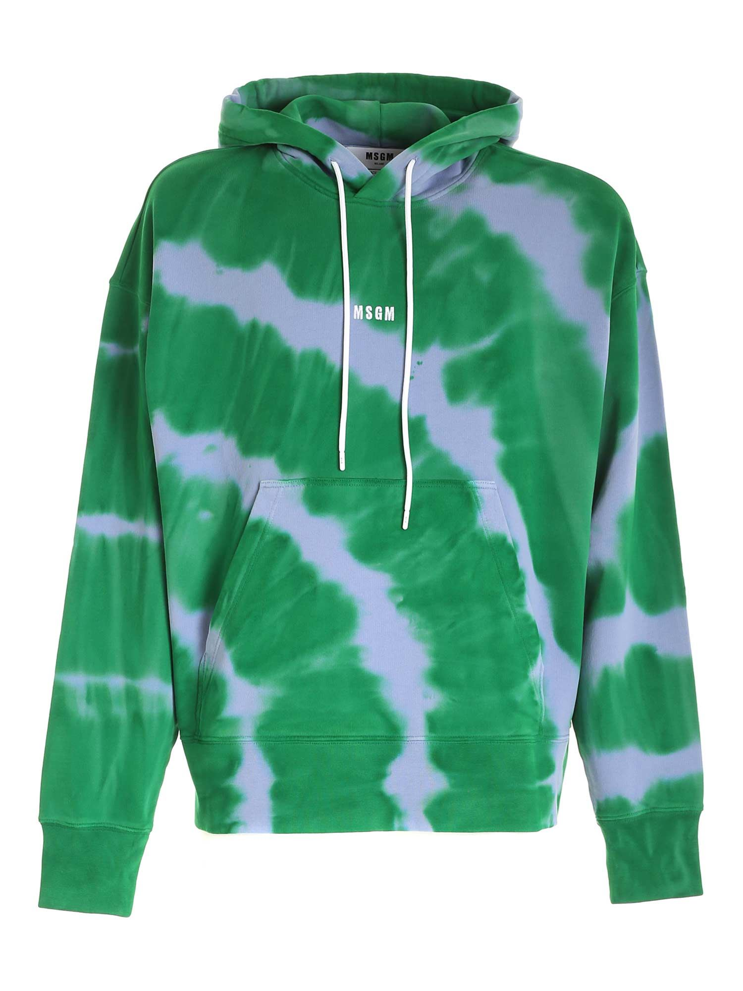 Msgm Cottons LOGO EMBROIDERY HOODIE IN GREEN AND VIOLET