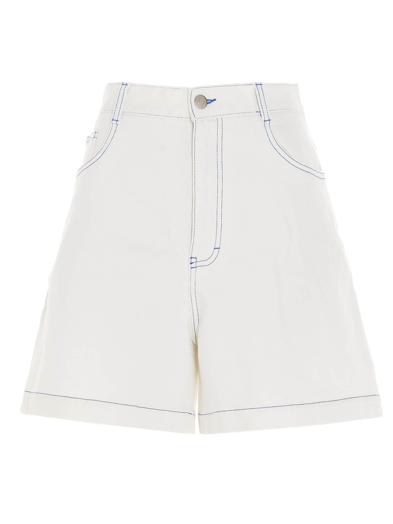 Stella Mccartney STELLA MCCARTNEY CONTRASTING STITCHING BERMUDA SHORTS IN WHITE