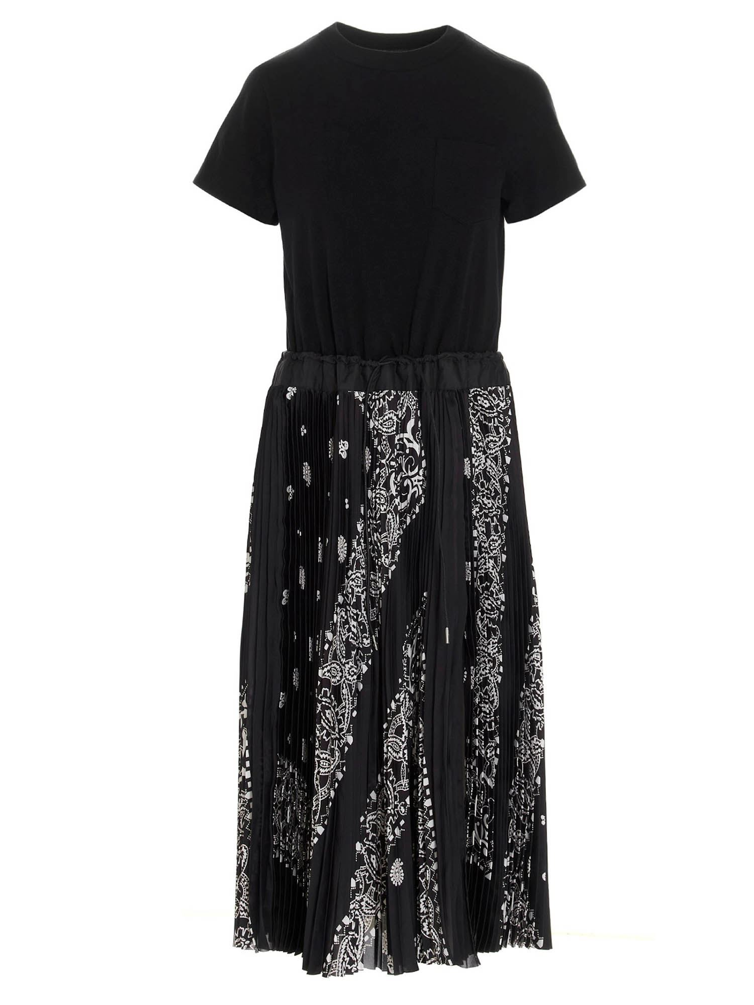Sacai BANDANA SKIRT DRESS IN BLACK