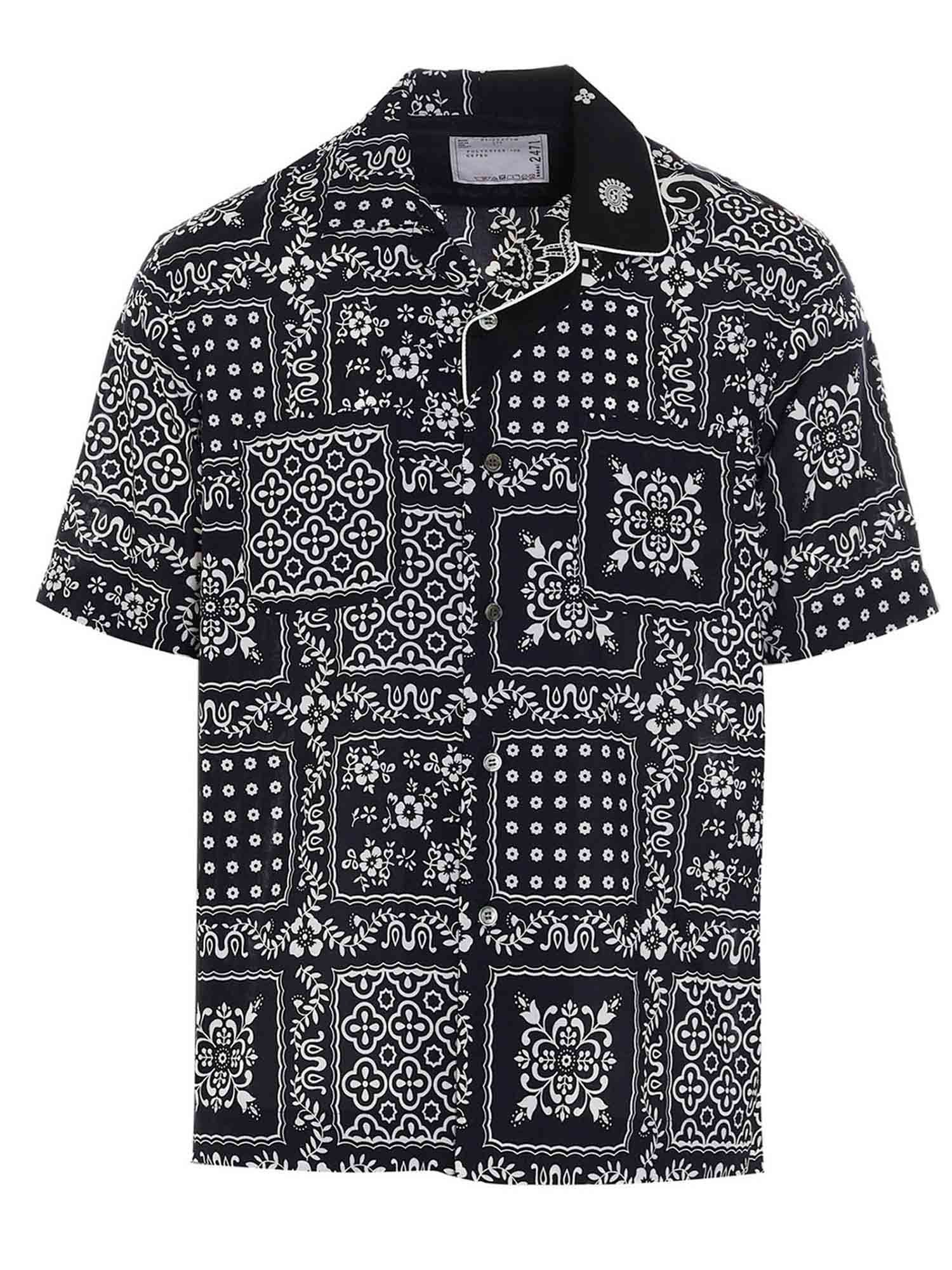 Sacai PAISLEY PATTERNED SHIRT IN BLUE