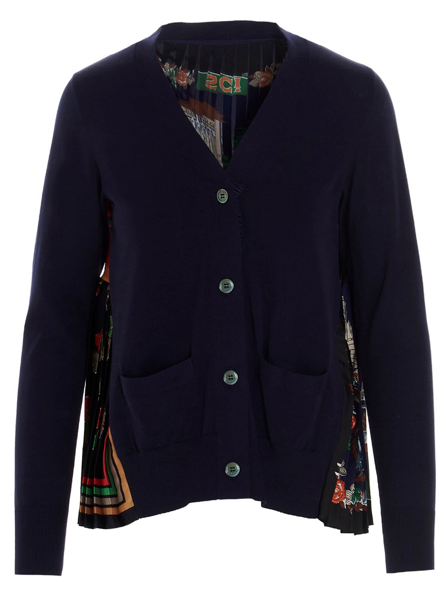 Sacai MULTICOLORED BACK CARDIGAN IN BLUE