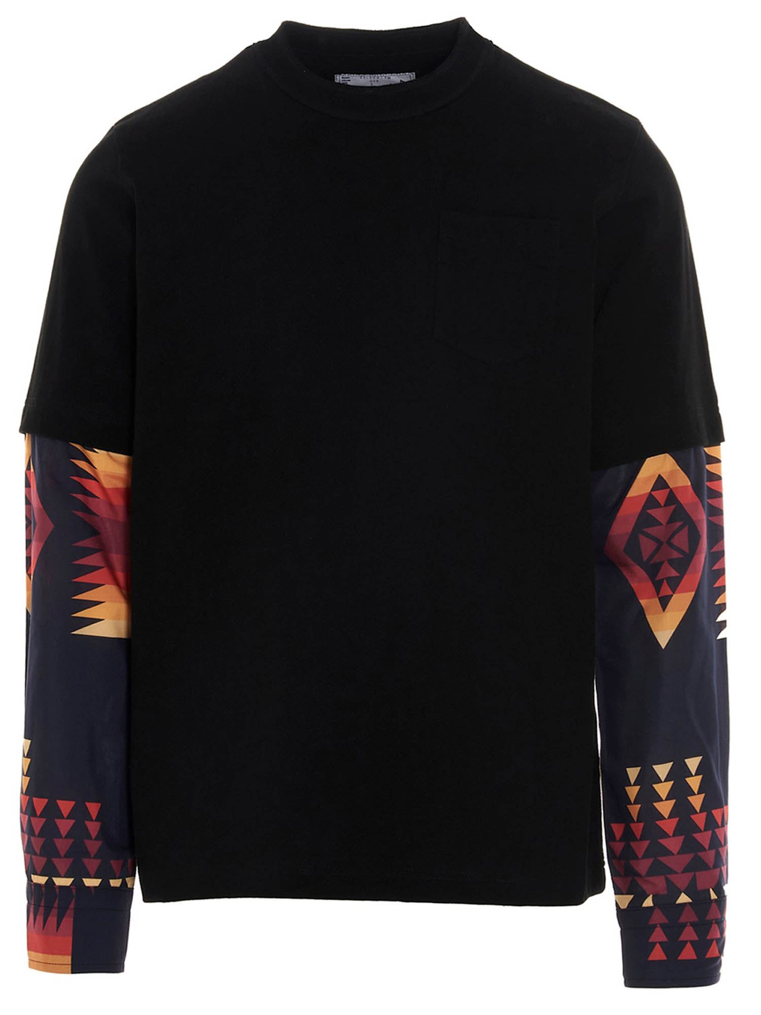Sacai MULTICOLOR INSERTS T-SHIRT IN BLACK
