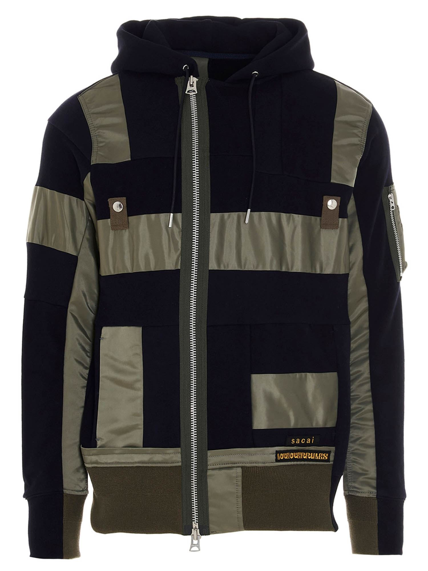 Sacai PATCHWORK SWEATSHIRT IN BLUE AND ARMY GREEN