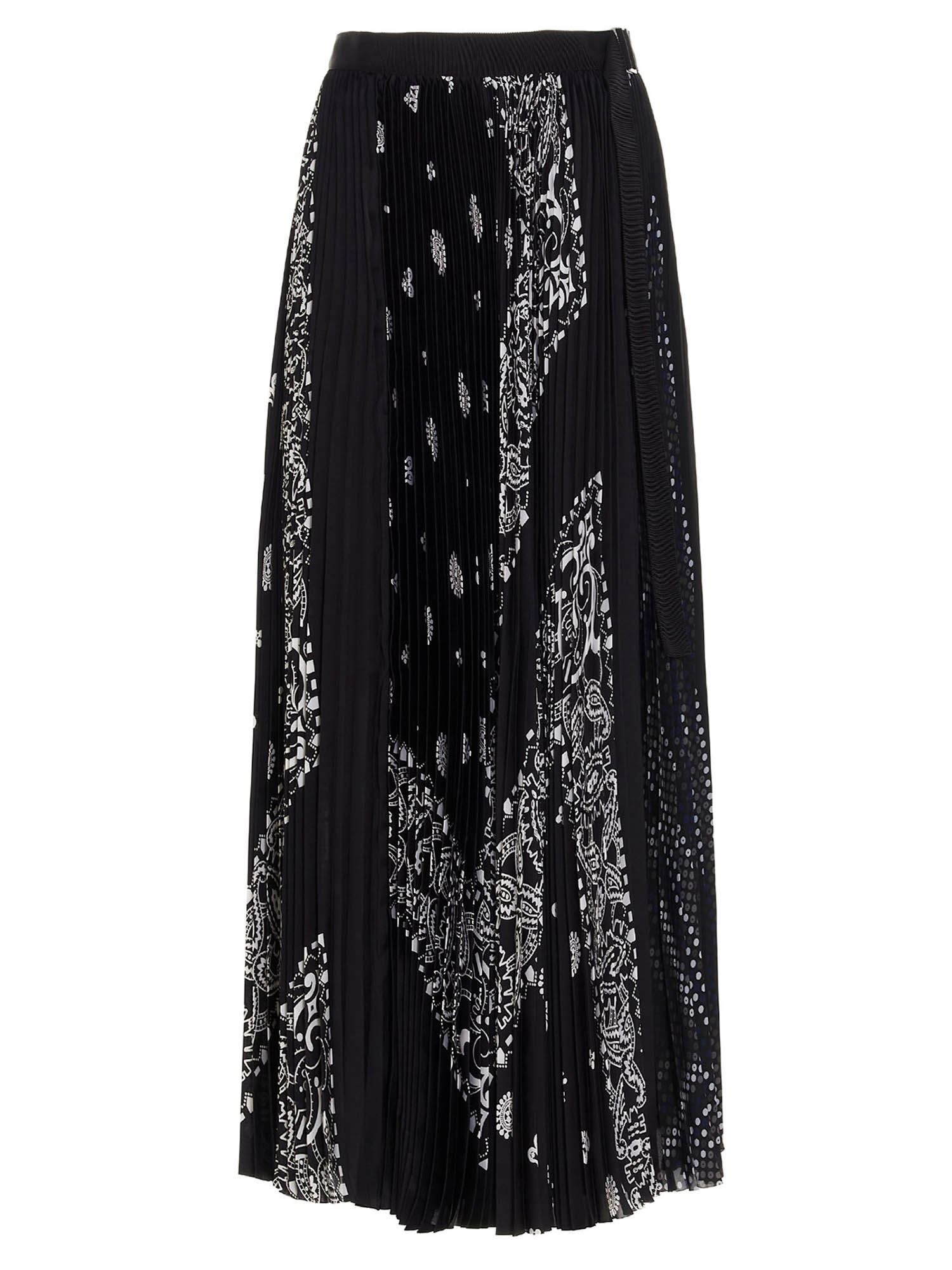 Sacai BANDANA PRINTED SKIRT IN BLACK