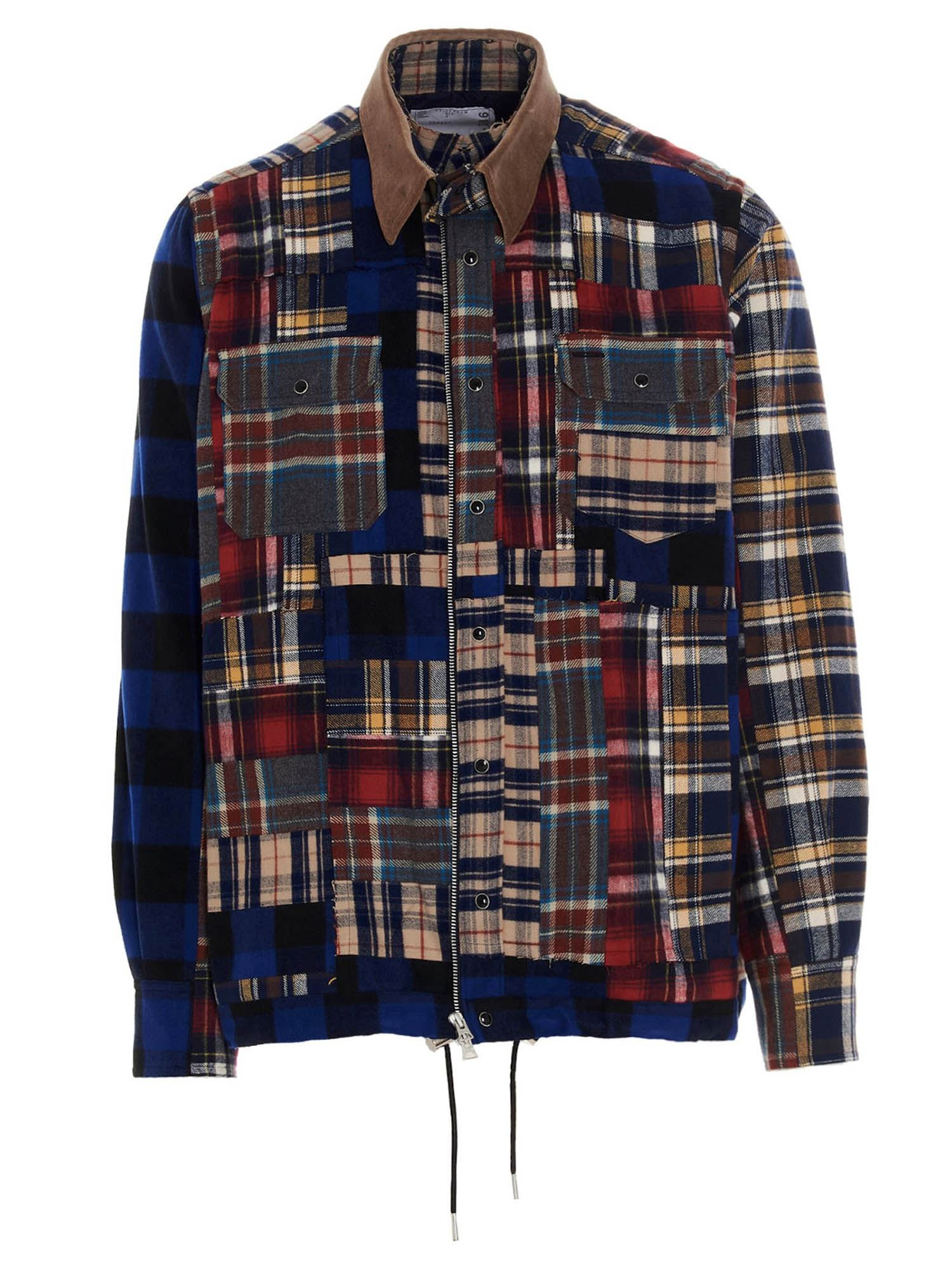 Sacai PATCHWORK OVERSHIRT IN MULTICOLOR