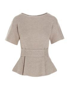 Agnona - Flared knitted top in sand color