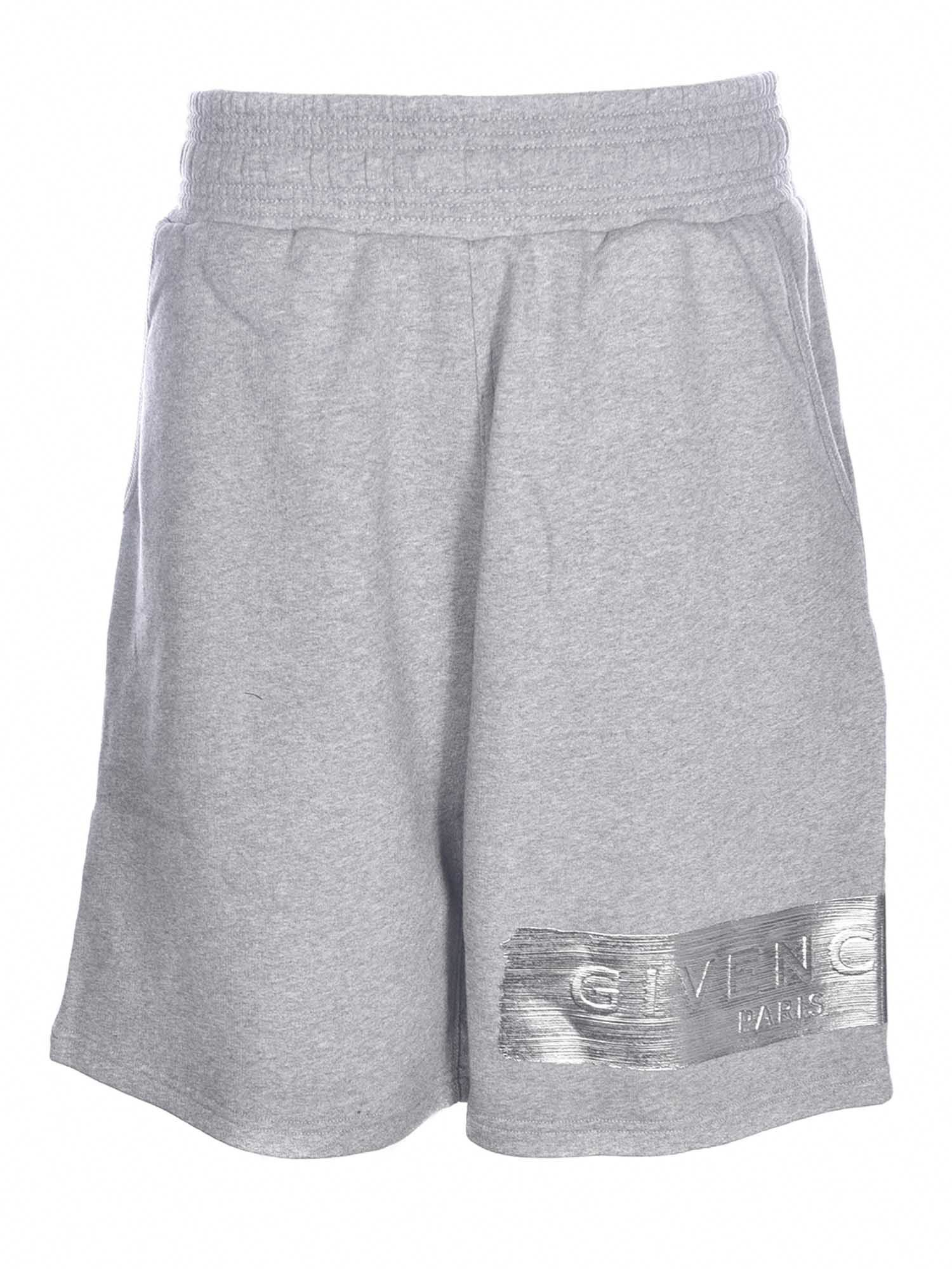 Givenchy LAMINATED LOGO PRINTED SHORTS IN MELANGE GREY
