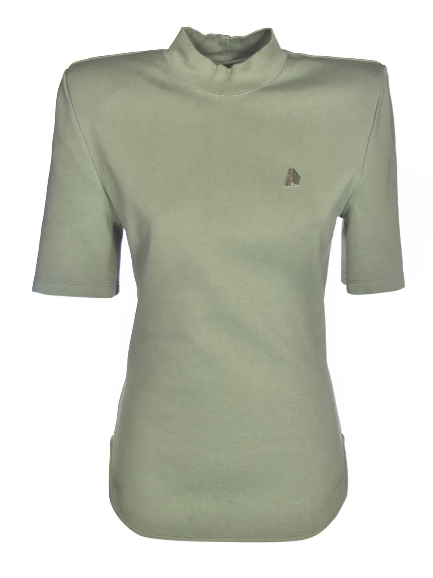 Attico SHOULDER PAD LOGO T-SHIRT IN OLIVINE COLOR