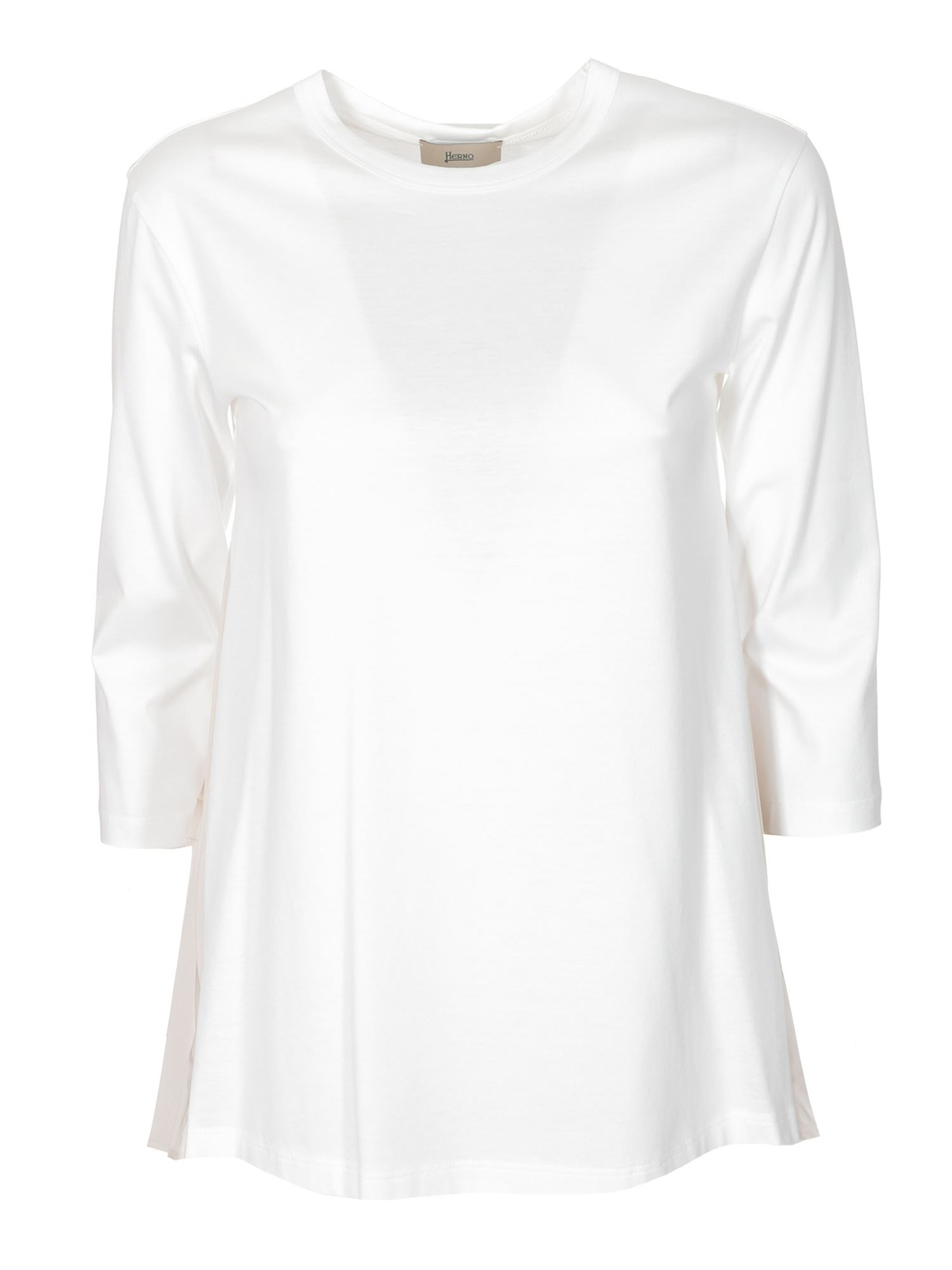 Herno Cottons THREE-QUARTER SLEEVE T-SHIRT IN WHITE