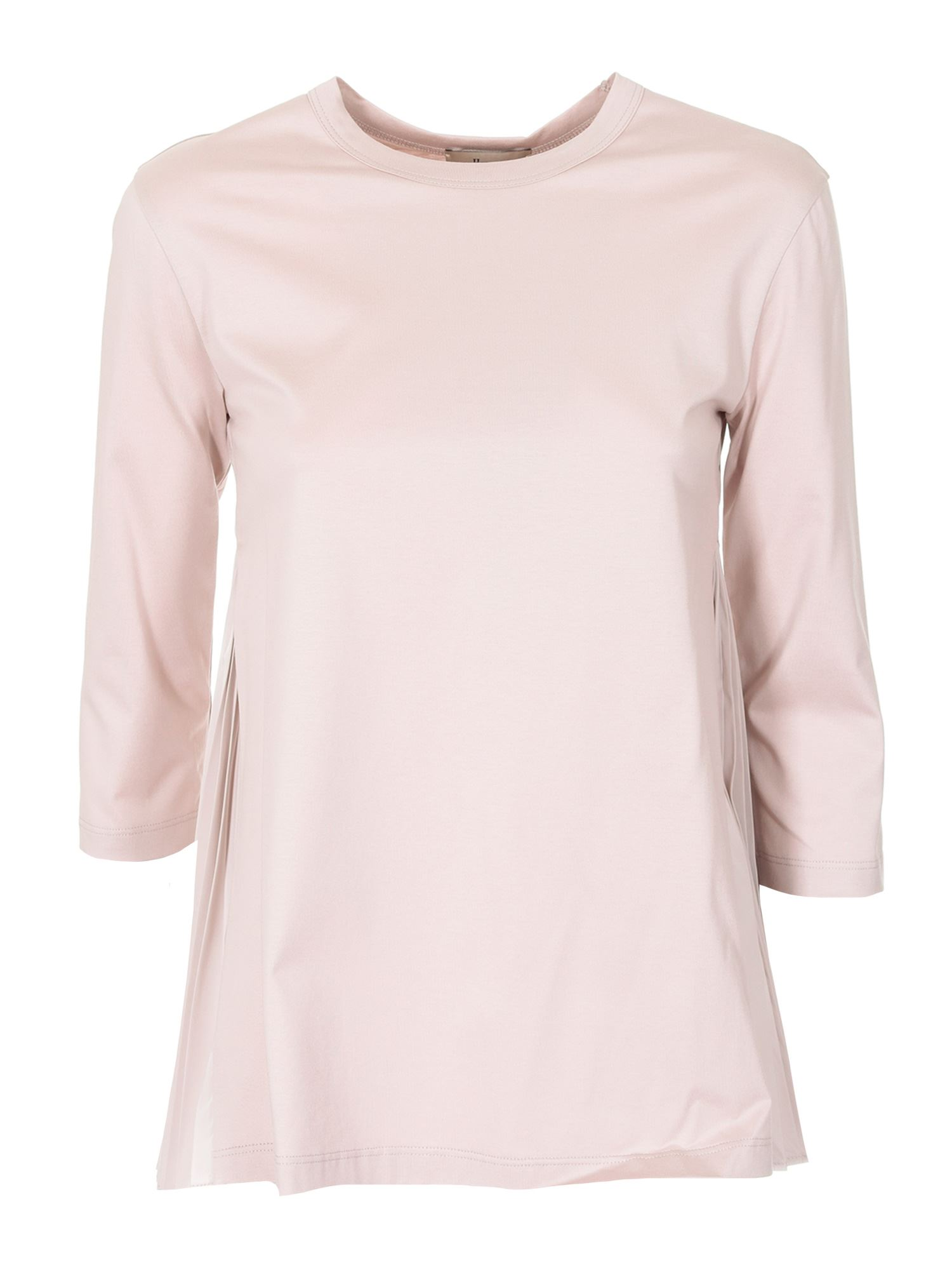 Herno Cottons THREE-QUARTER SLEEVE T-SHIRT IN PINK