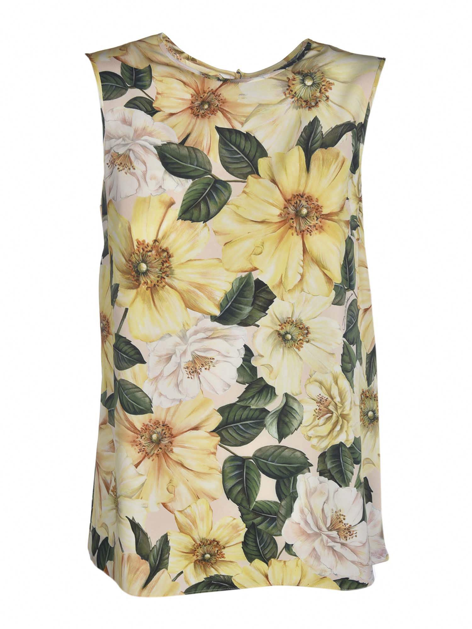 Dolce & Gabbana FLORAL PRINT TOP IN YELLOW