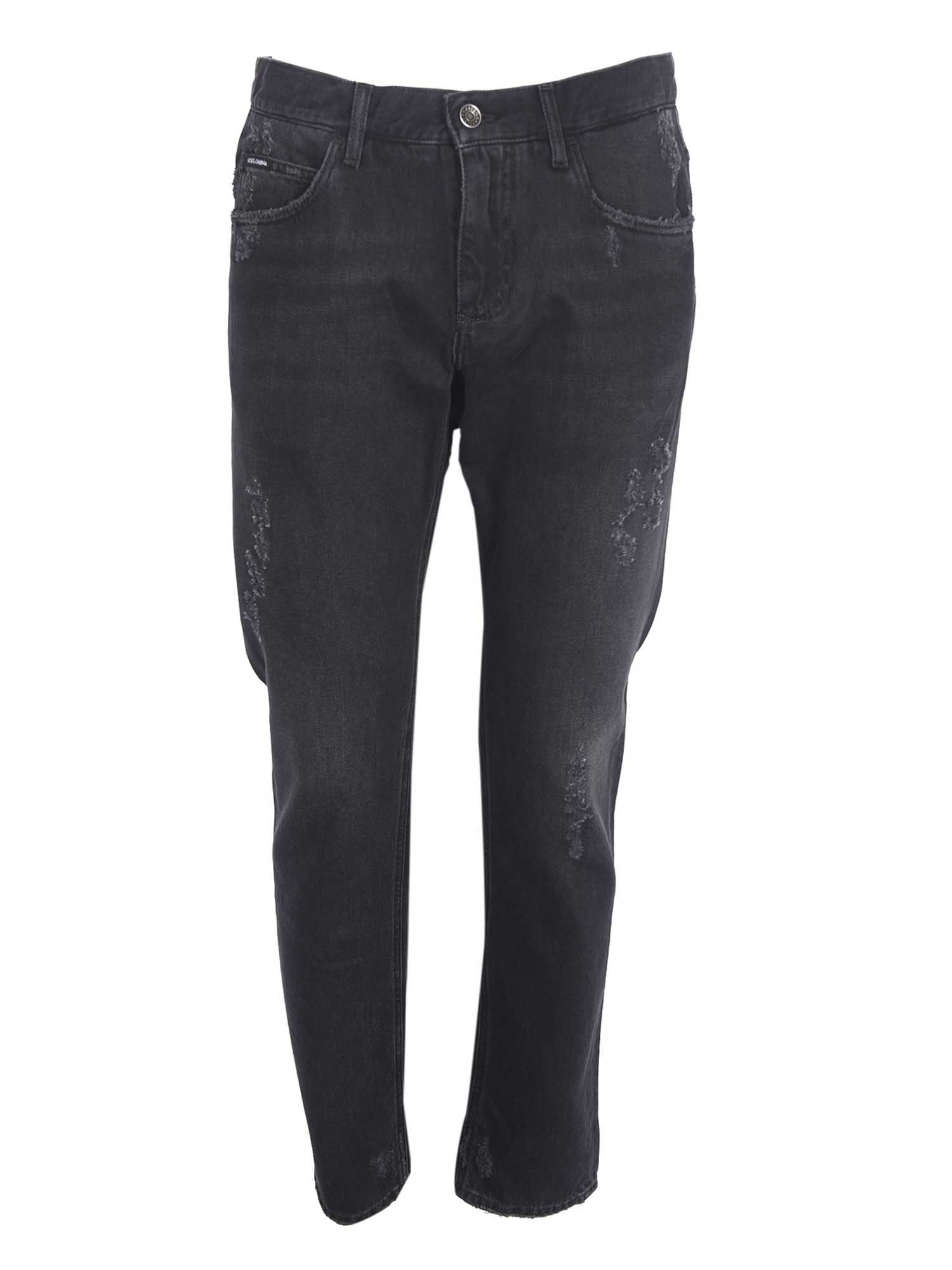 Dolce & Gabbana WORN EFFECT JEANS IN BLACK