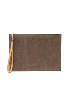 Etro - Clutch in Paisley jacquard marrone