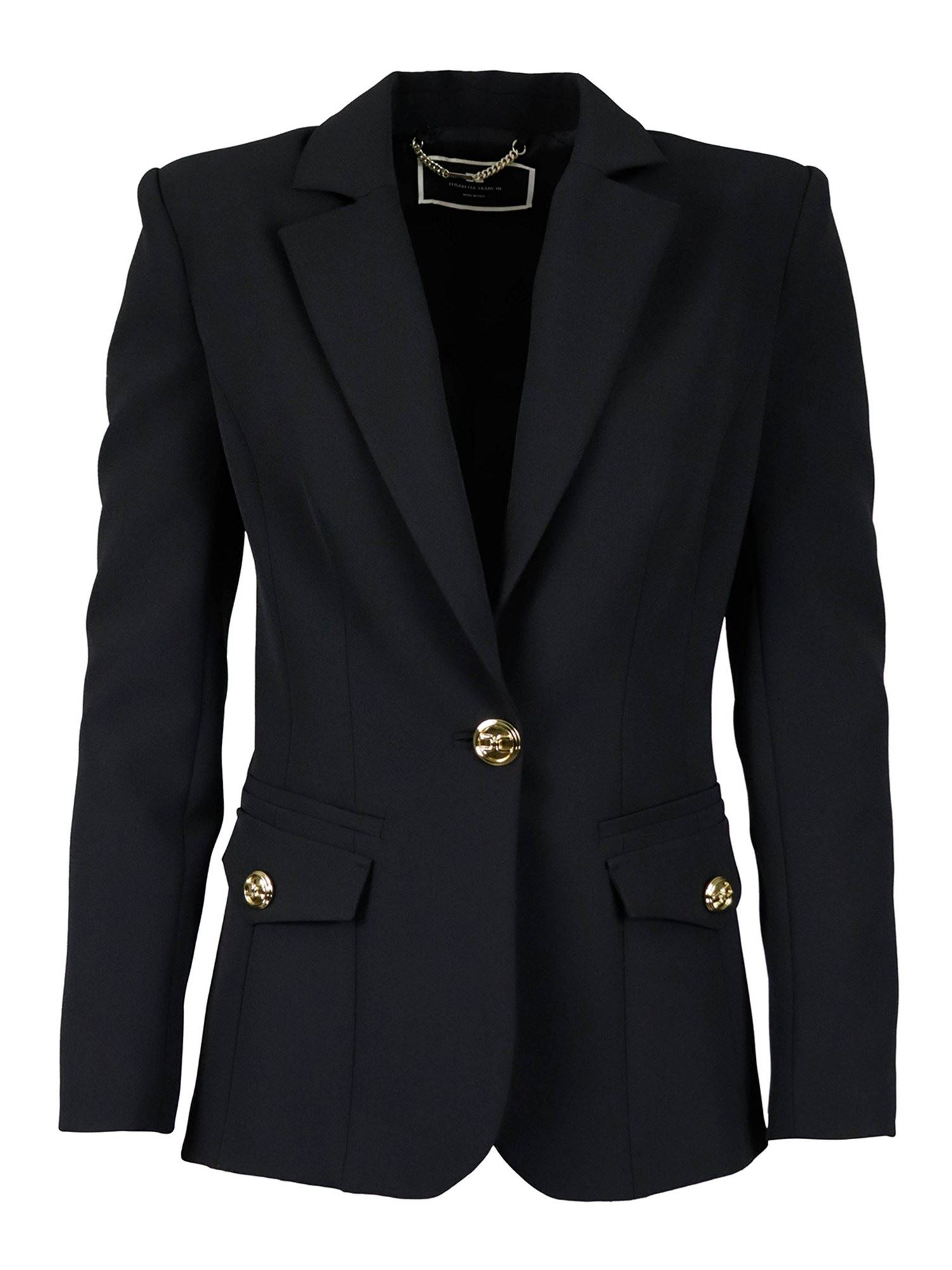 Elisabetta Franchi GOLD-TONE BUTTON BLAZER IN BLACK