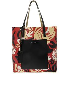 Marni - Printed tote in red
