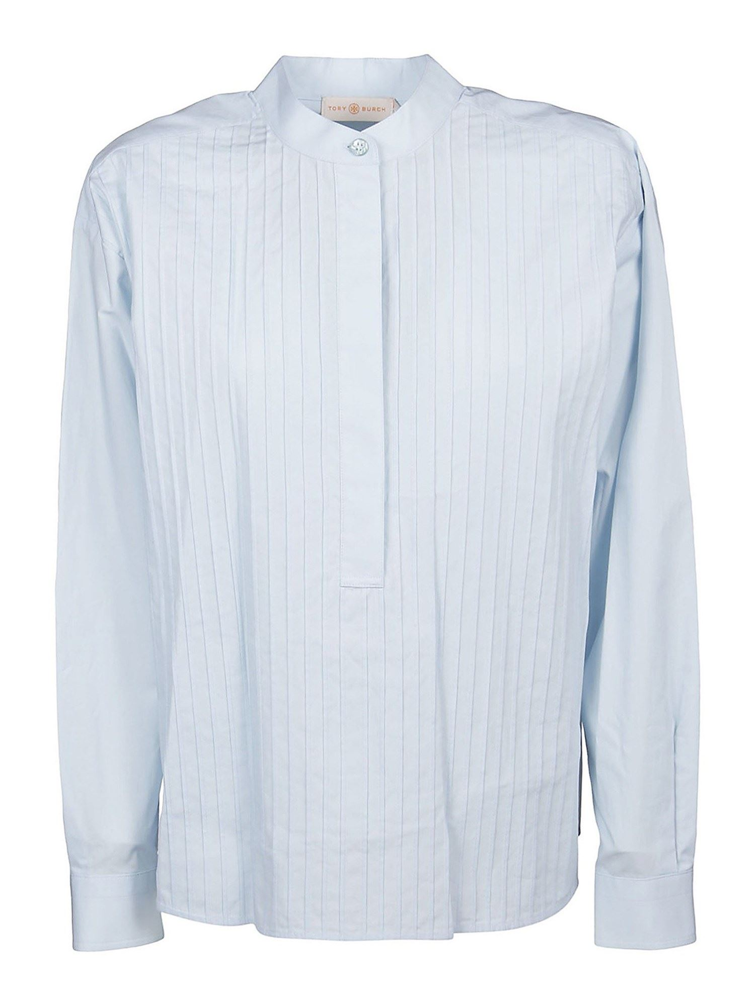 Tory Burch Cottons PLEATED POPLIN SHIRT IN LIGHT BLUE