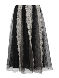 Red Valentino - Lace and tulle skirt in black