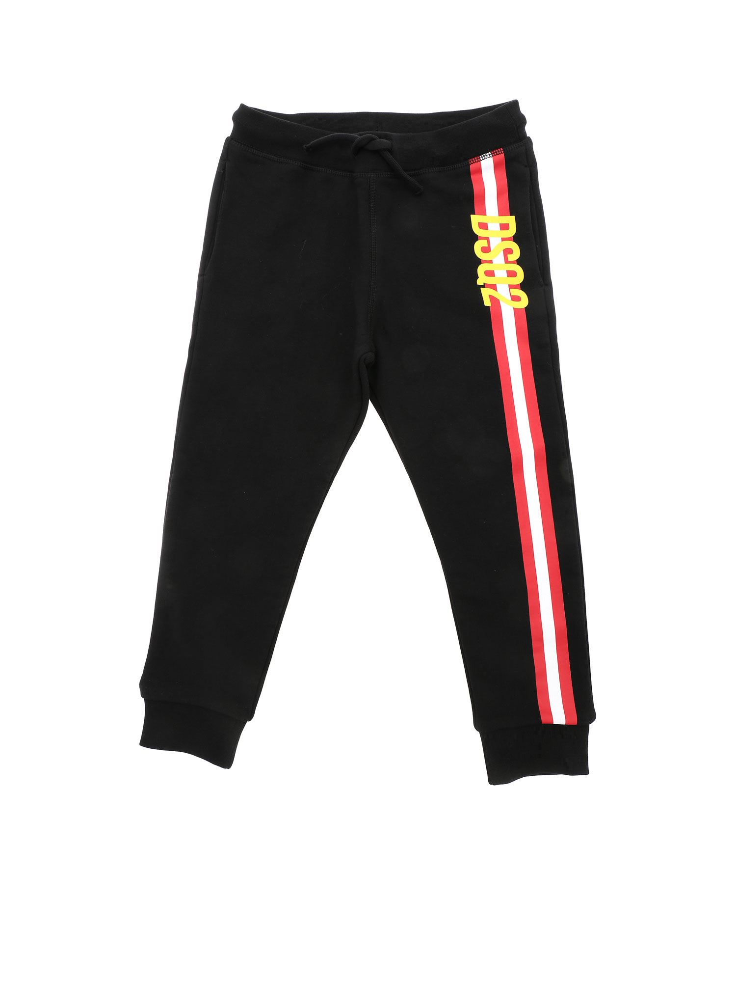 Dsquared2 CONTRASTING PRINT JOGGERS IN BLACK