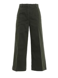 Aspesi - Cotton wide leg pants in green