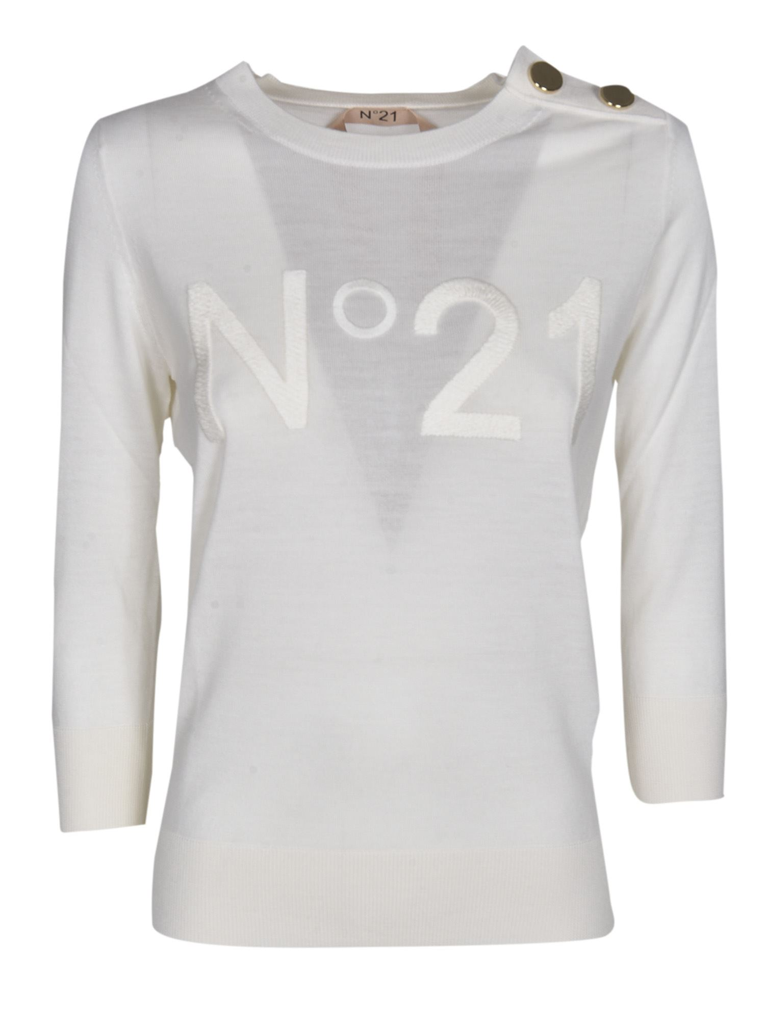N°21 EMBROIDERED LOGO SWEATER IN WHITE