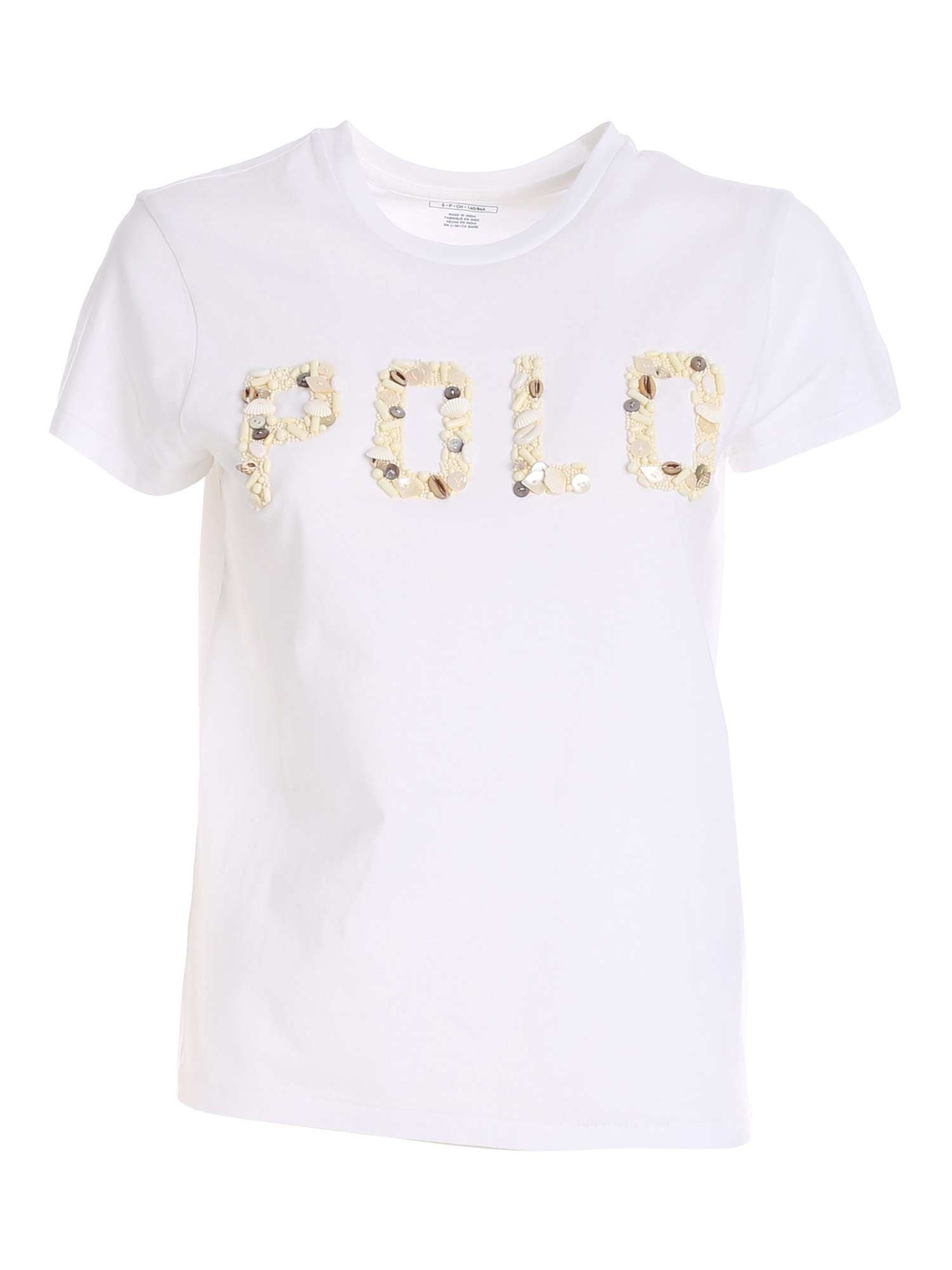 Polo Ralph Lauren POLO RALPH LAUREN DECORATED LOGO T-SHIRT IN WHITE