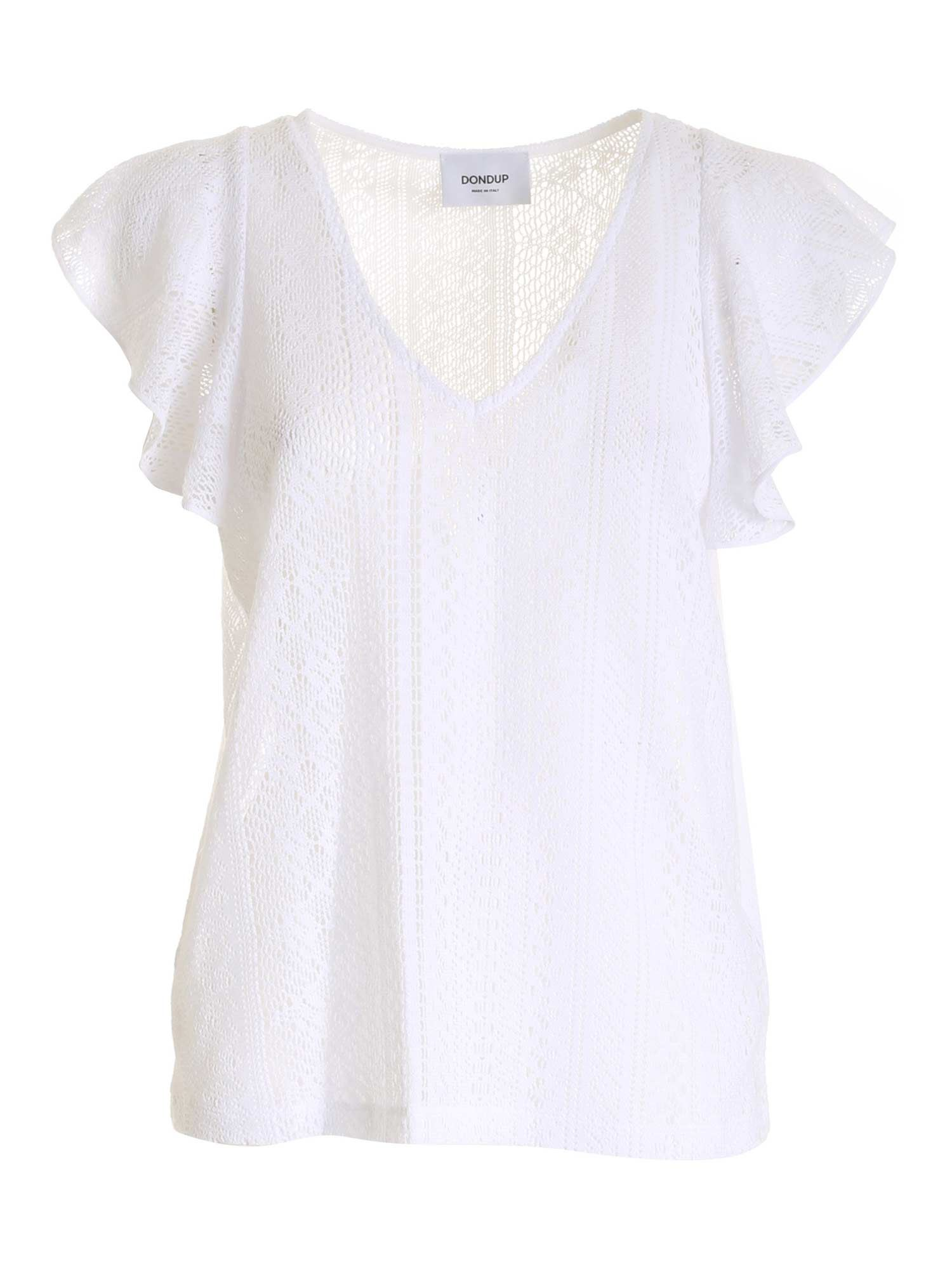 Dondup V-NECK TOP IN WHITE