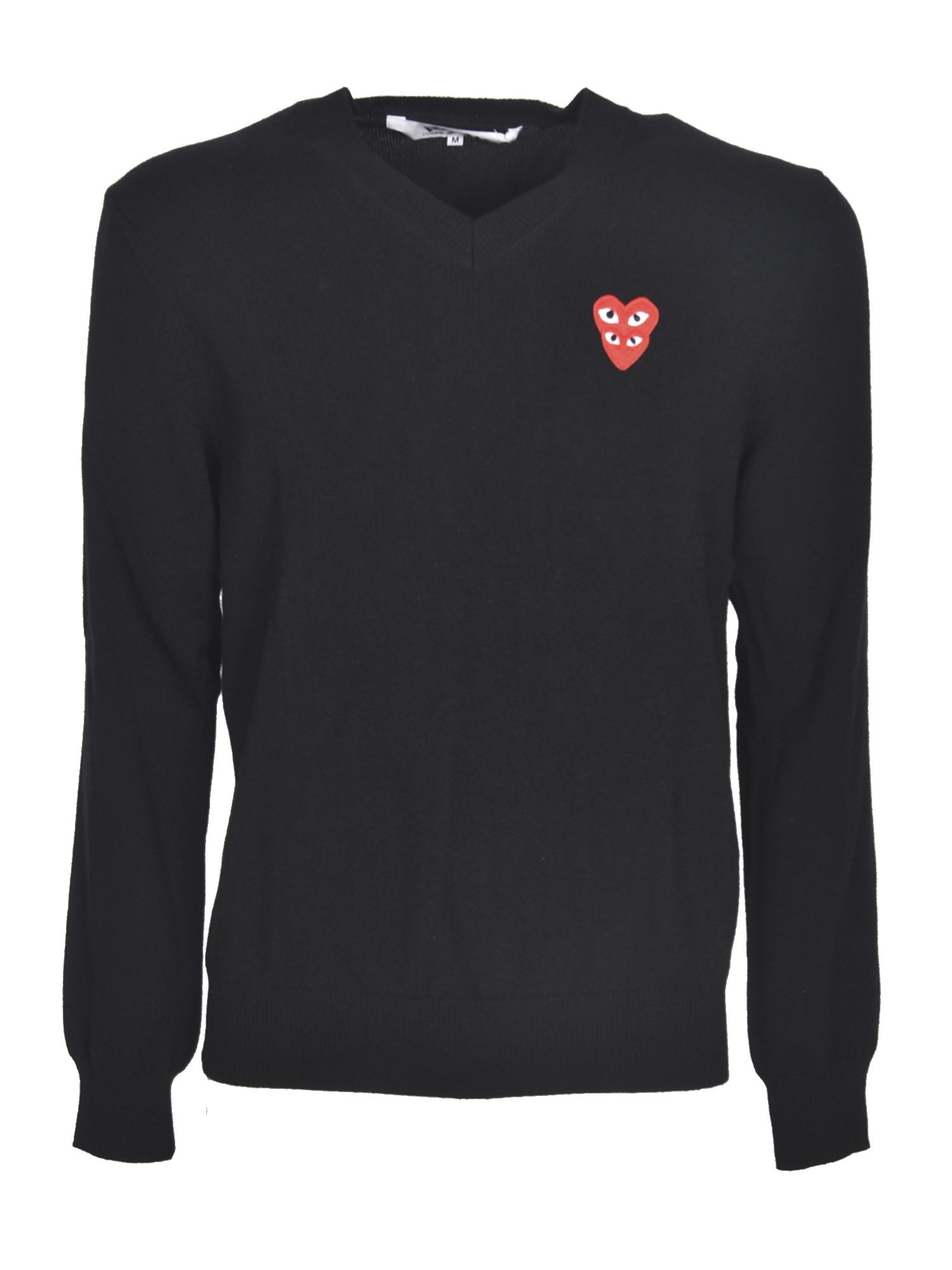 Comme Des Garçons Play DOUBLE RED HEART SWEATER IN BLACK