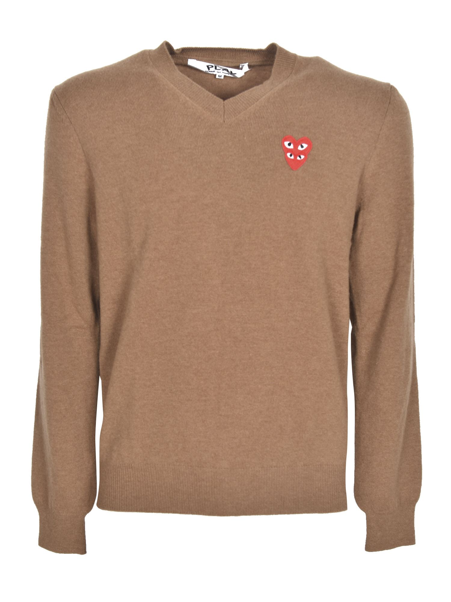 Comme Des Garçons Play DOUBLE RED HEART SWEATER IN CAMEL