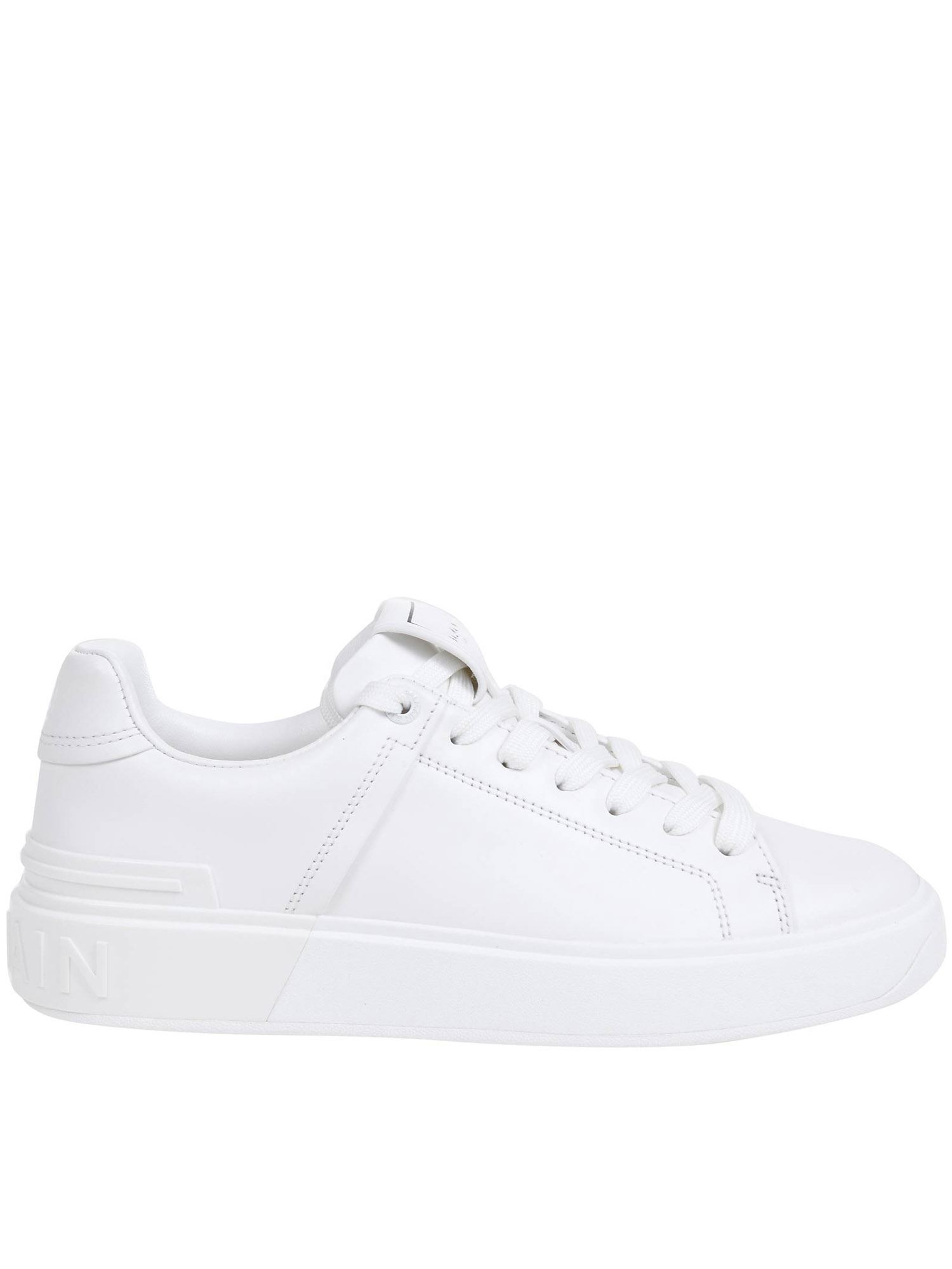 Balmain Leathers B-COURT LEATHER SNEAKERS IN WHITE