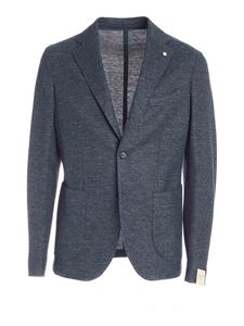 L.B.M. 1911 - Slim fit jacket in melange blue